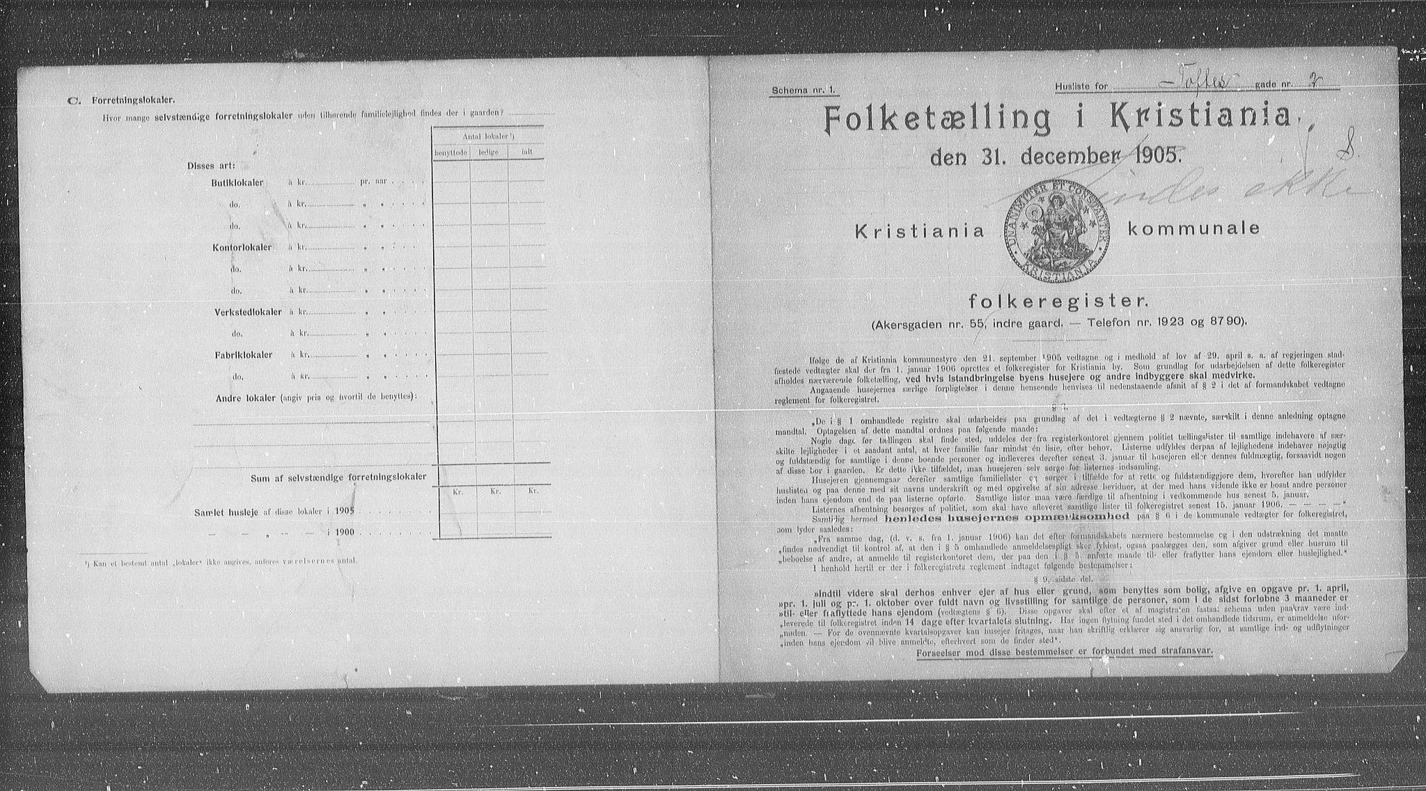 OBA, Municipal Census 1905 for Kristiania, 1905, p. 58428