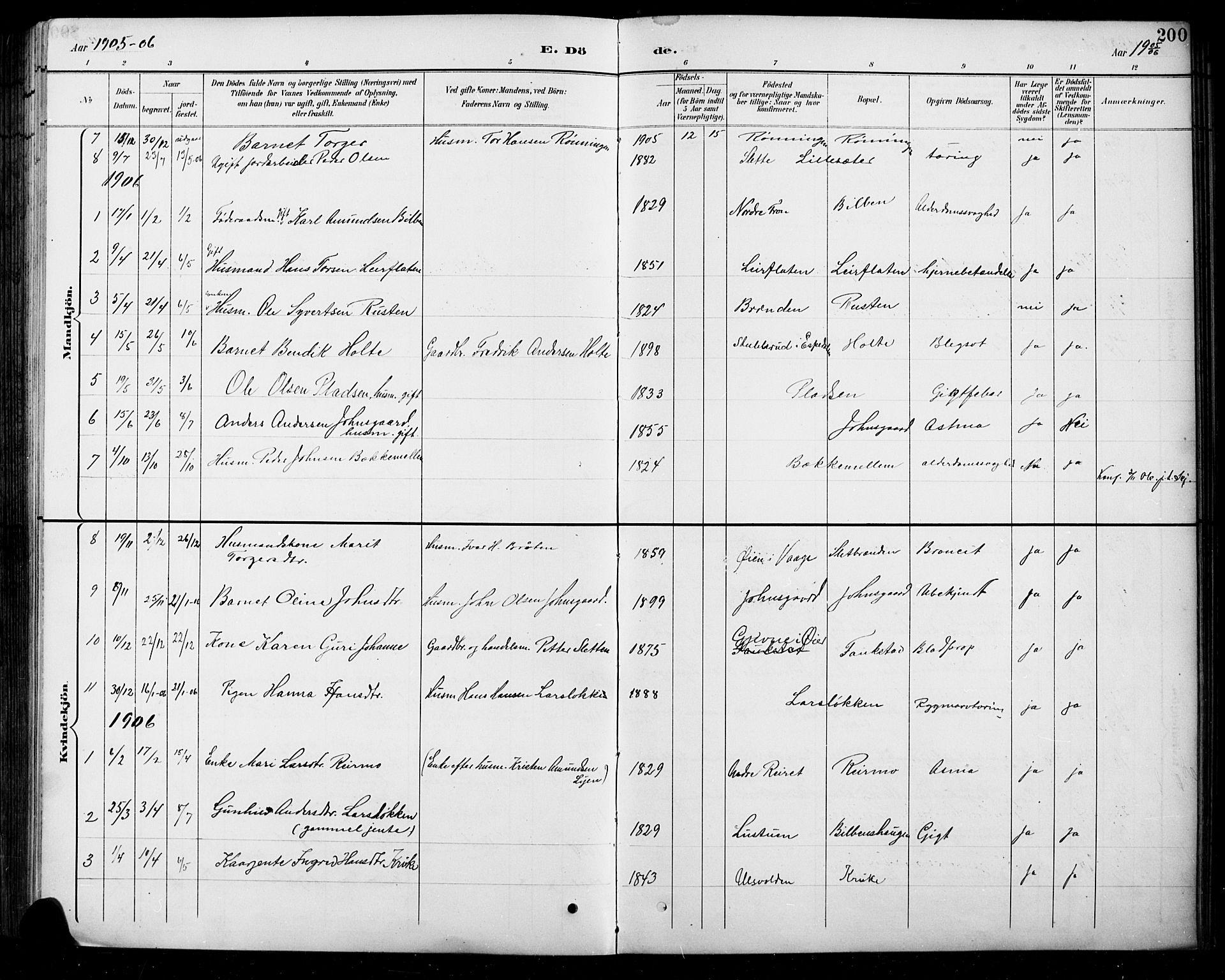 SAH, Sel prestekontor, Parish register (copy) no. 5, 1894-1923, p. 200