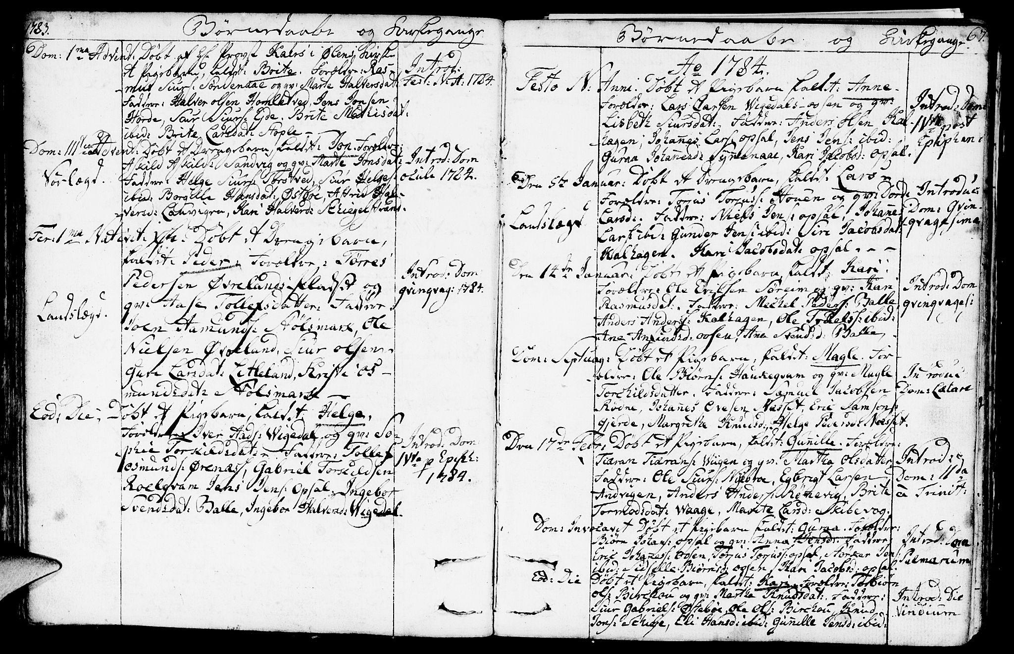 SAST, Vikedal sokneprestkontor, IV: Parish register (official) no. A 2, 1779-1817, p. 67