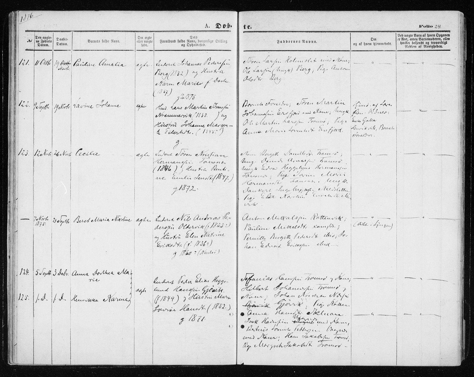 SATØ, Tromsøysund sokneprestkontor, G/Ga/L0003kirke: Parish register (official) no. 3, 1875-1880, p. 24