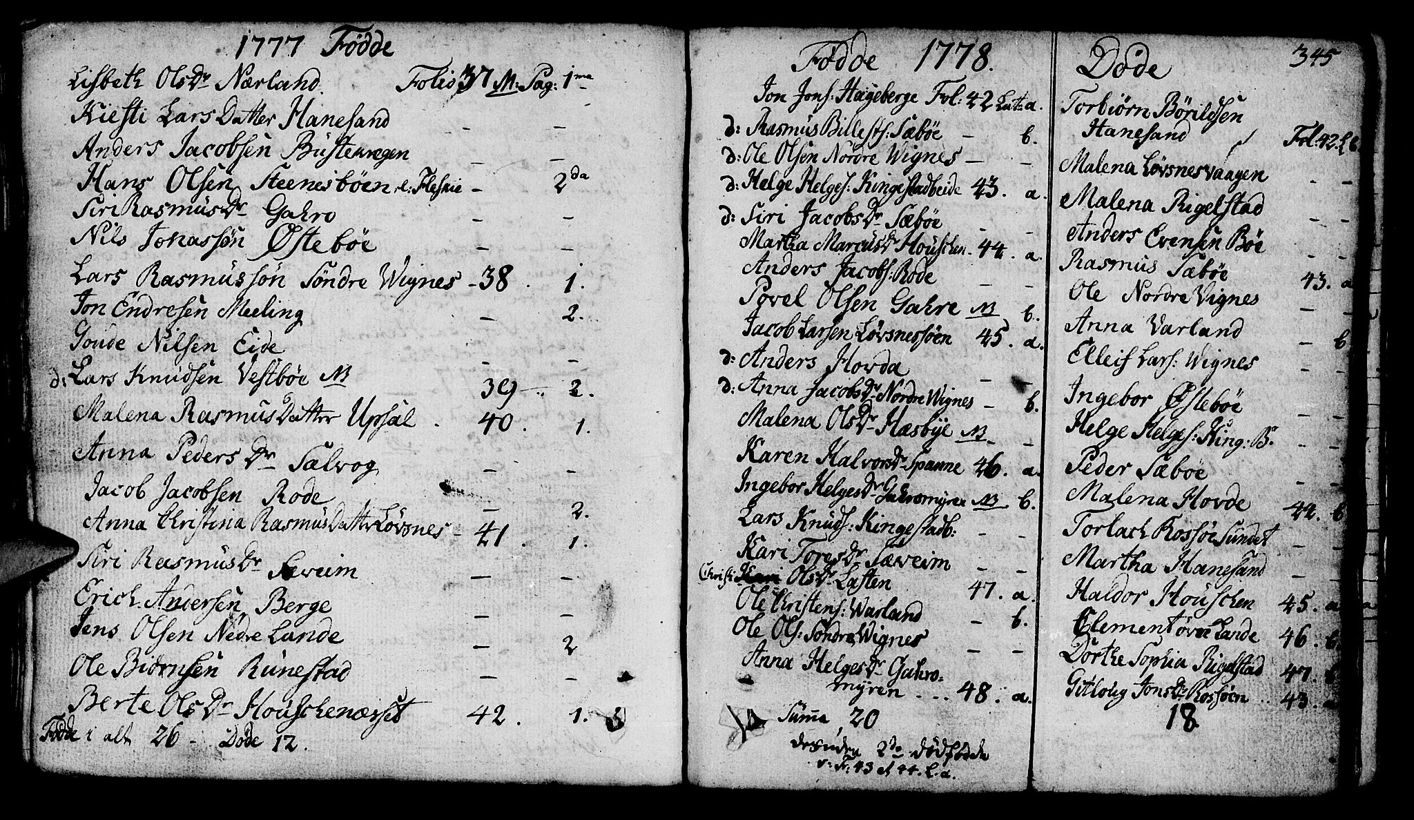 SAST, Finnøy sokneprestkontor, H/Ha/Haa/L0005: Parish register (official) no. A 5, 1773-1816, p. 345