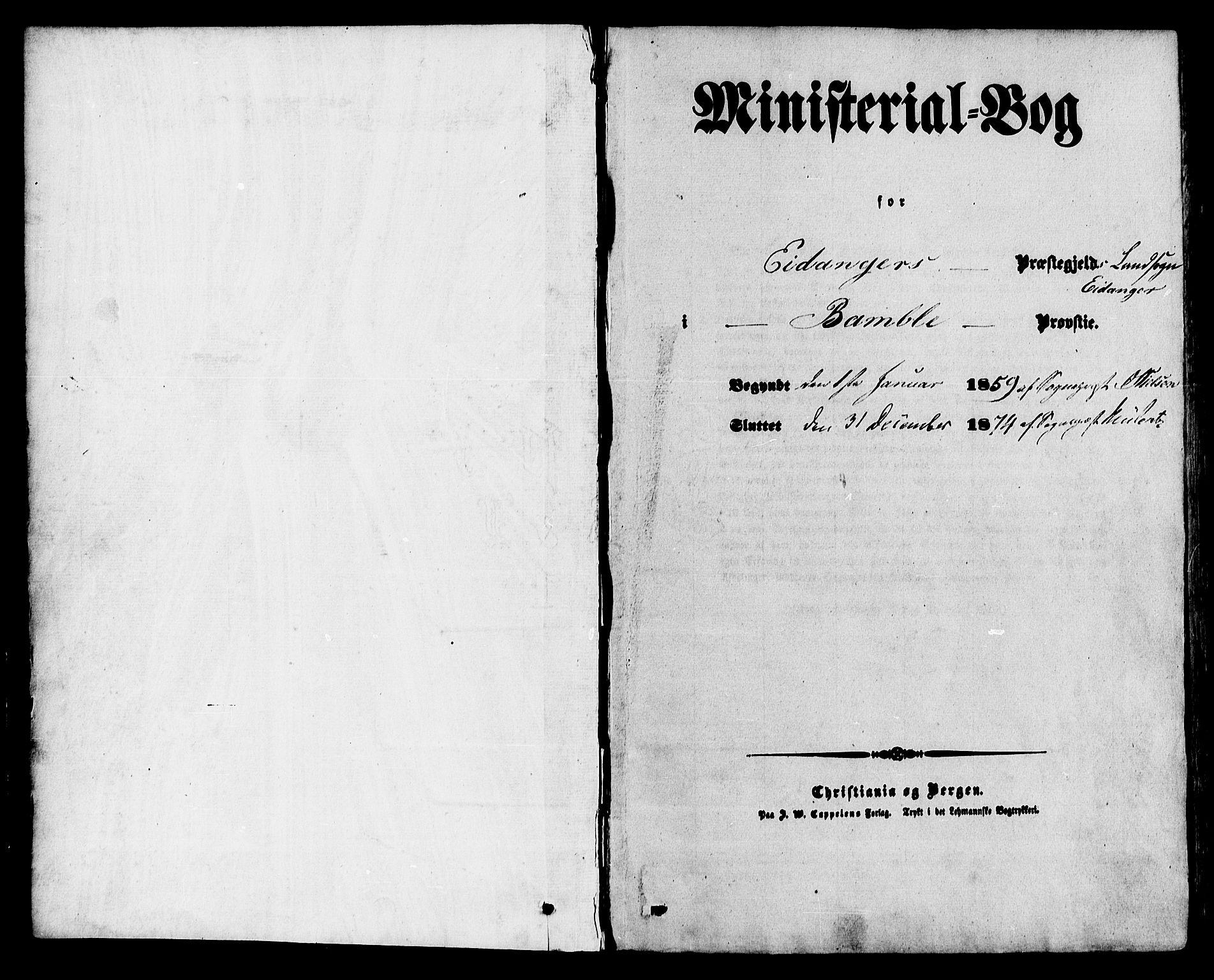 SAKO, Eidanger kirkebøker, F/Fa/L0010: Parish register (official) no. 10, 1859-1874