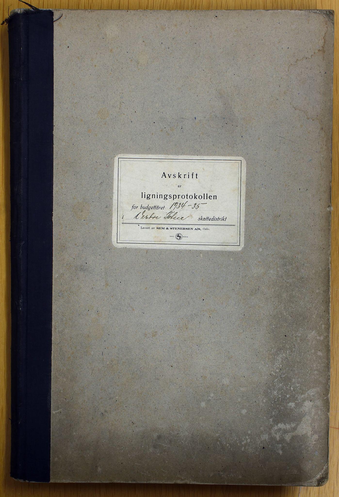 KVT, Vestre Toten municipality archive - Tax assessment protocol 1934-1935, 1934-1935