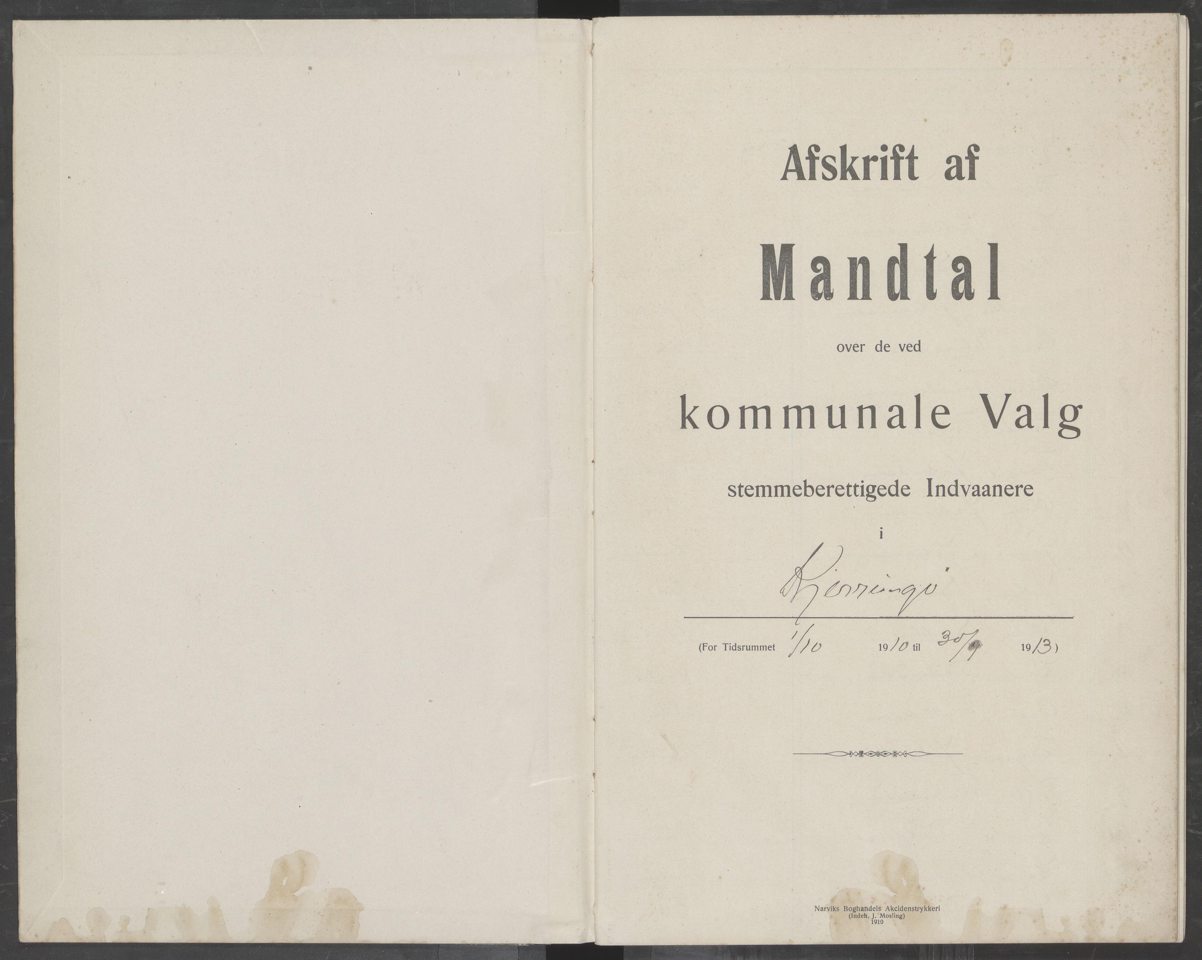 AIN, Kjerringøy kommune valgmanntall 1910 - 1913, 1910-1913