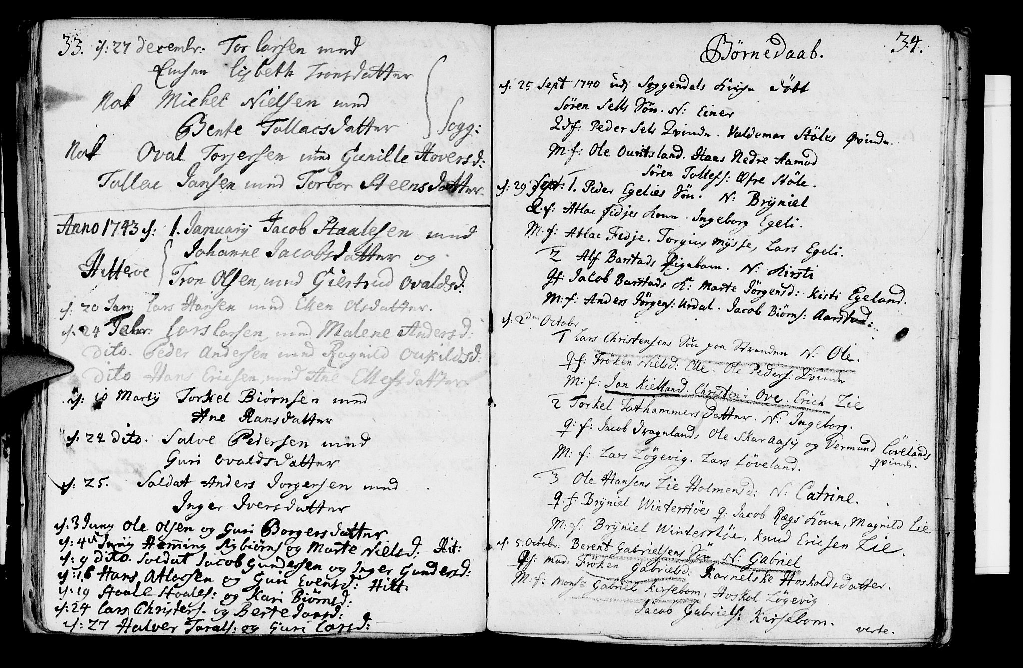 SAST, Sokndal sokneprestkontor, Parish register (official) no. A 2, 1740-1743, p. 33-34