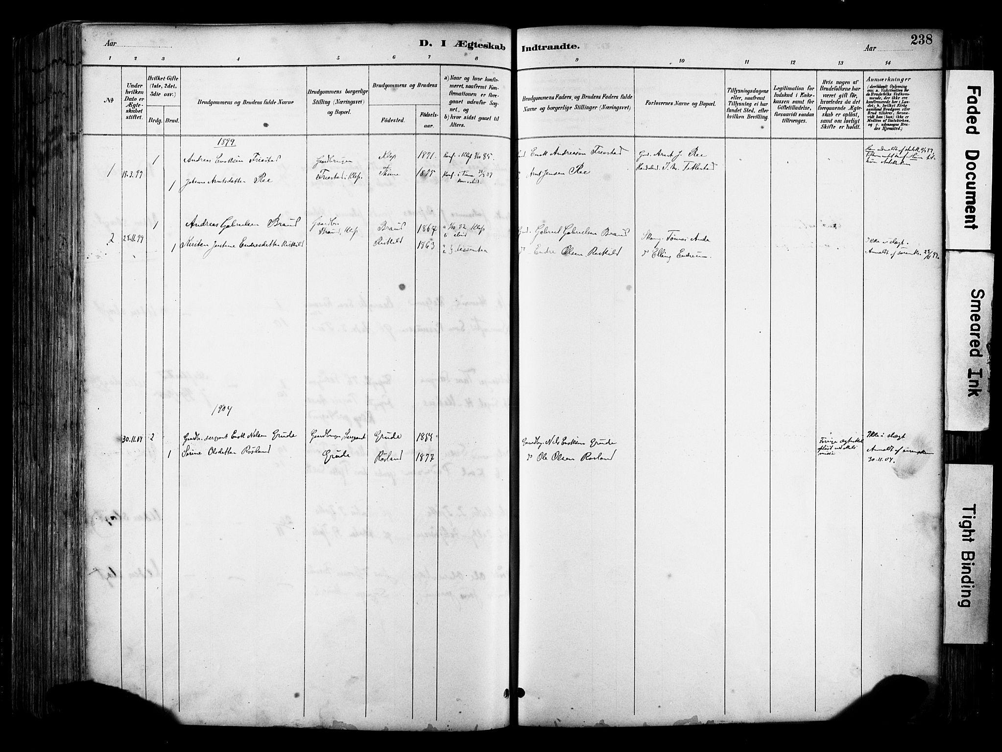 SAST, Klepp sokneprestkontor, 30BA/L0009: Parish register (official) no. A 7, 1886-1915, p. 238