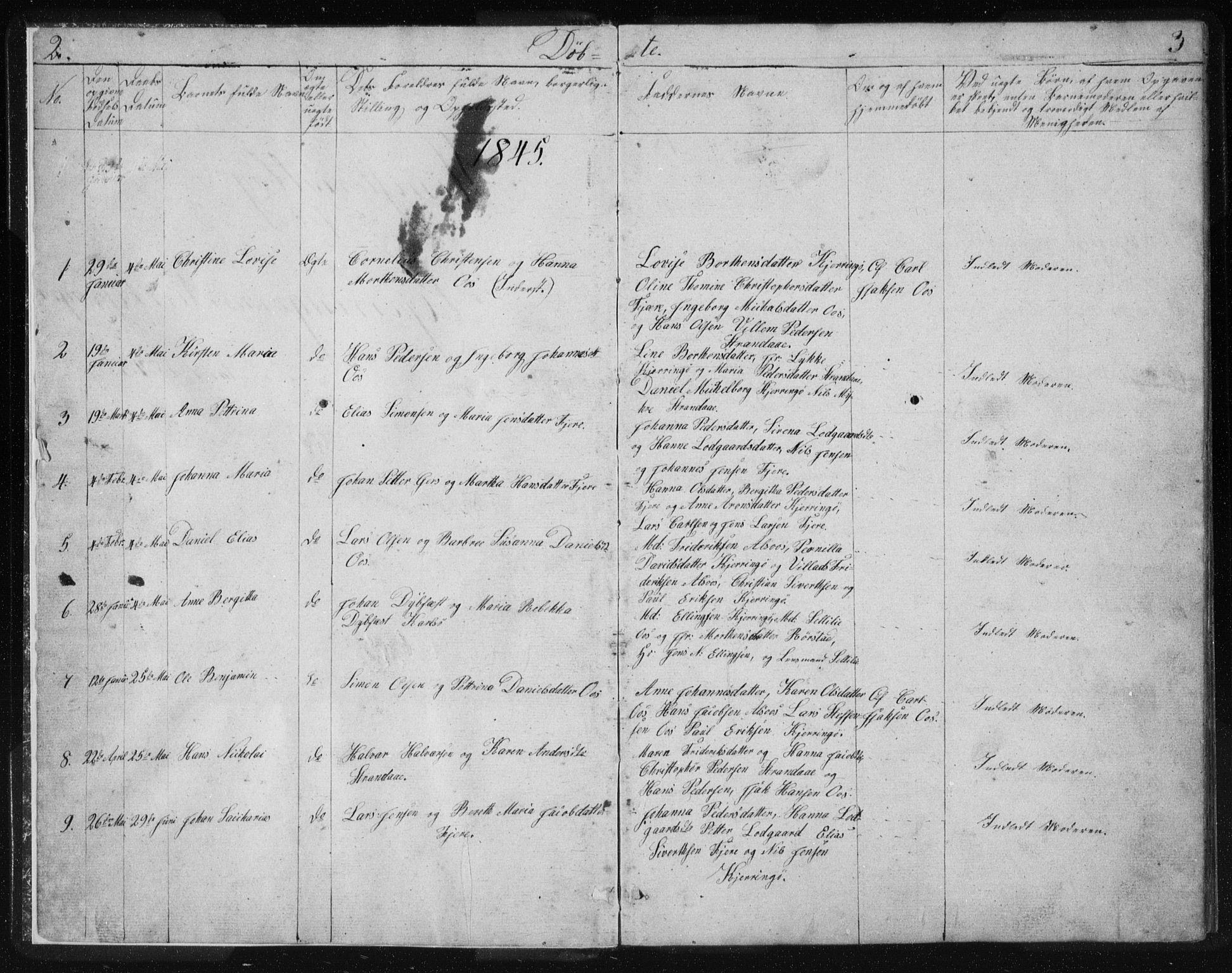 SAT, Ministerialprotokoller, klokkerbøker og fødselsregistre - Nordland, 803/L0074: Parish register (copy) no. 803C01, 1845-1866, p. 2-3