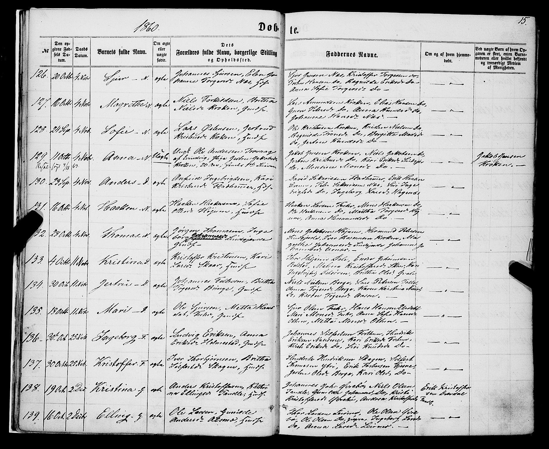 SAB, Luster sokneprestembete, H/Haa/Haaa/L0008: Parish register (official) no. A 8, 1860-1870, p. 15