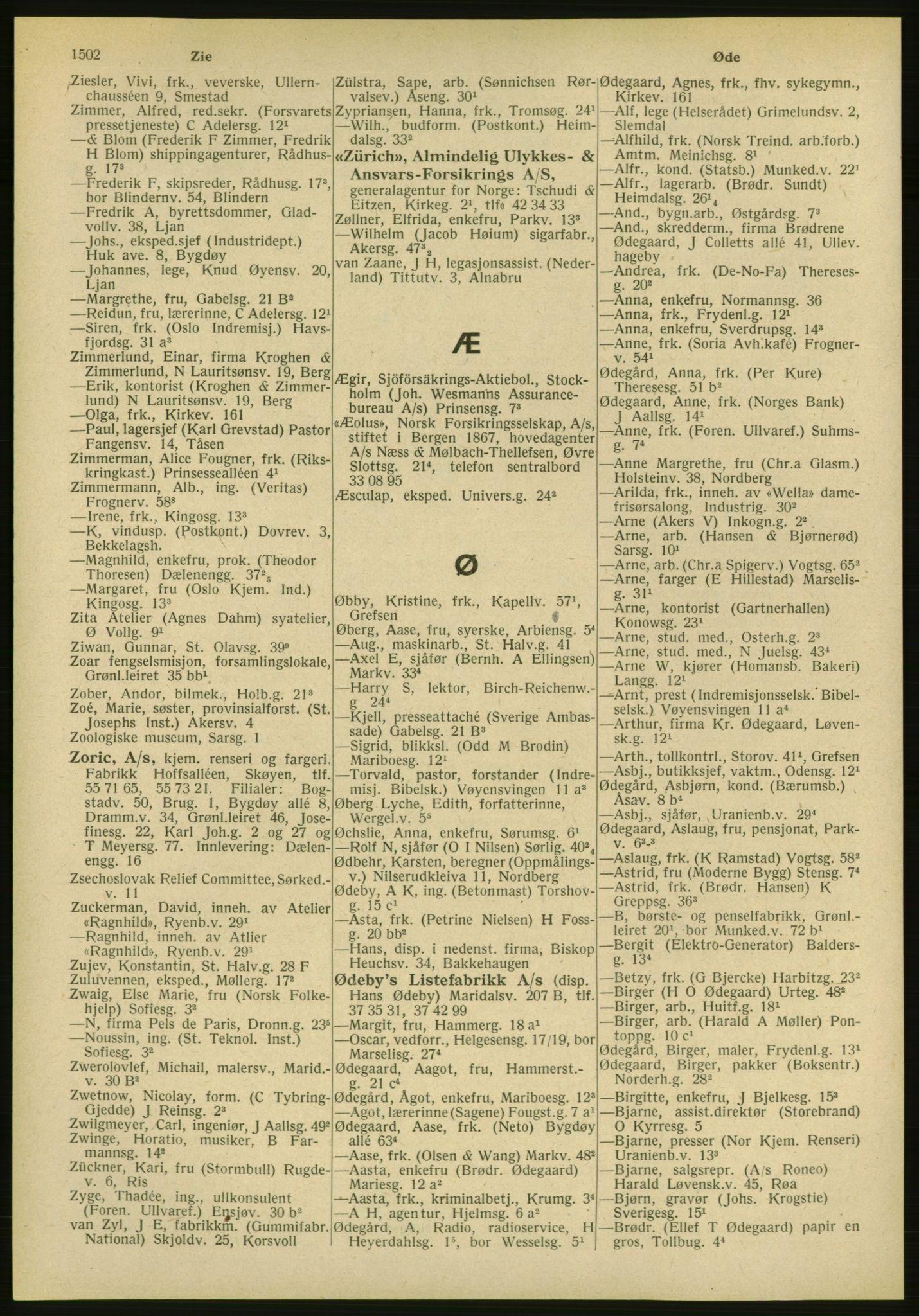 PUBL, Kristiania/Oslo adressebok, 1951, p. 1502