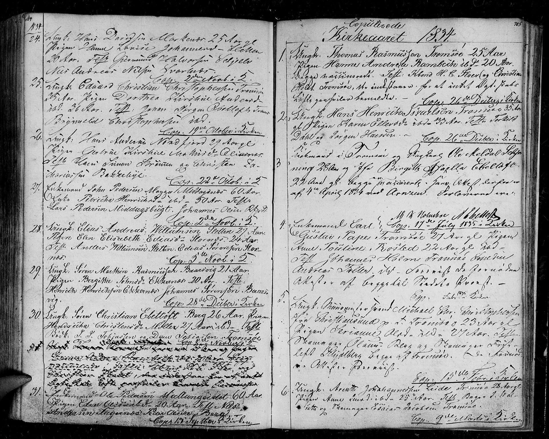 SATØ, Tromsø sokneprestkontor/stiftsprosti/domprosti, G/Ga/L0008kirke: Parish register (official) no. 8, 1829-1837, p. 704-705