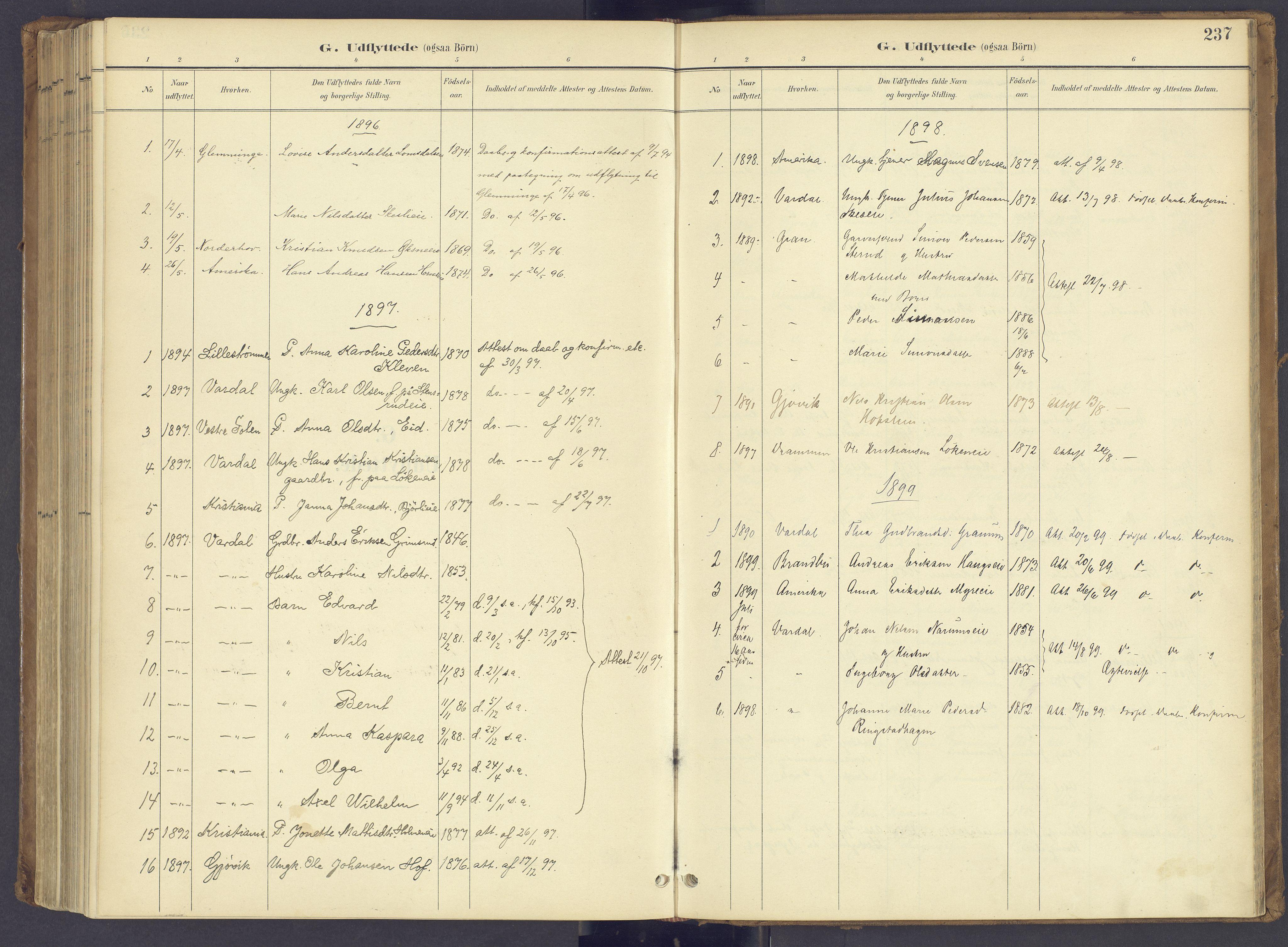 SAH, Søndre Land prestekontor, K/L0006: Parish register (official) no. 6, 1895-1904, p. 237