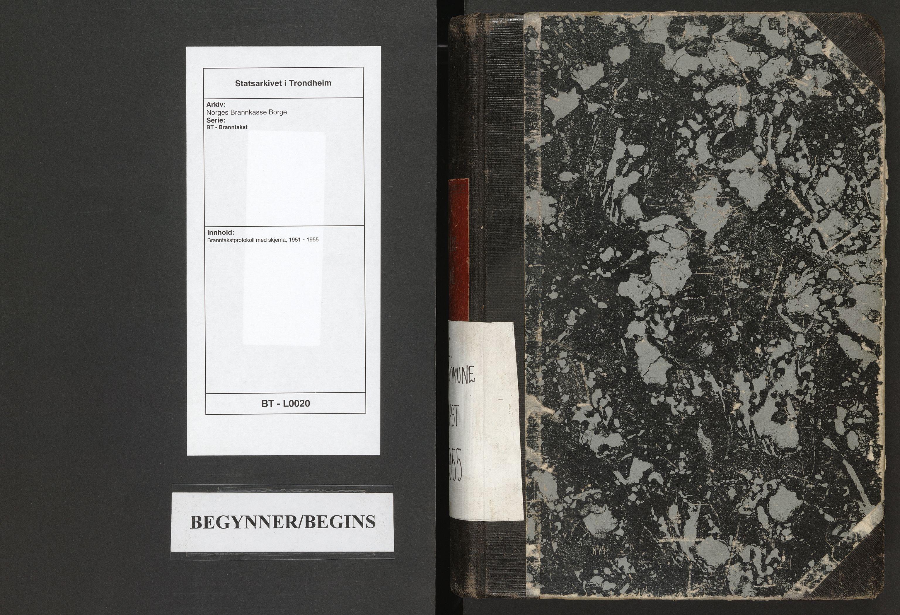 SAT, Norges Brannkasse Borge, BT/L0020: Branntakstprotokoll med skjema, 1951-1955