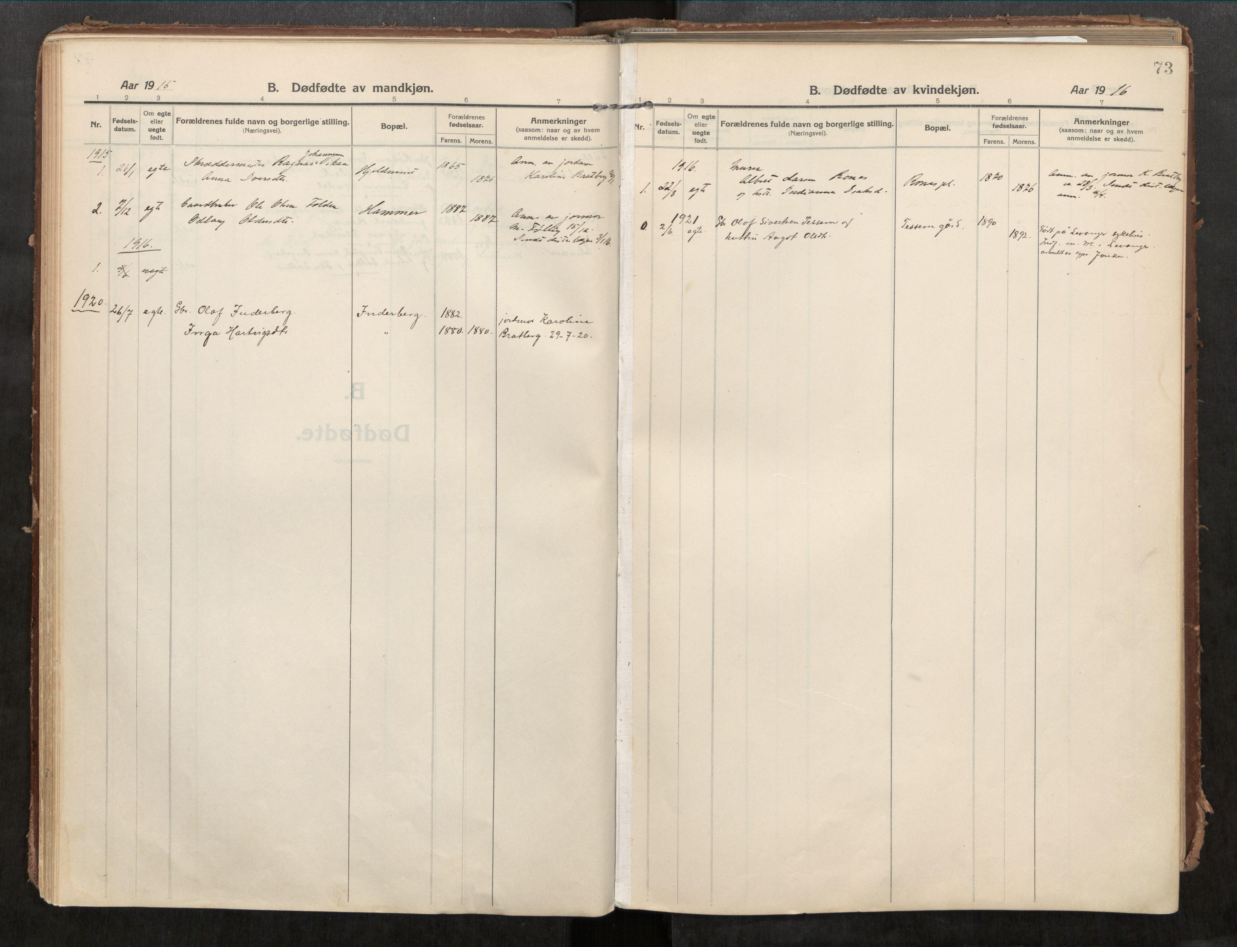 SAT, Beitstad sokneprestkontor, I/I1/I1a/L0001: Parish register (official) no. 1, 1912-1927, p. 73