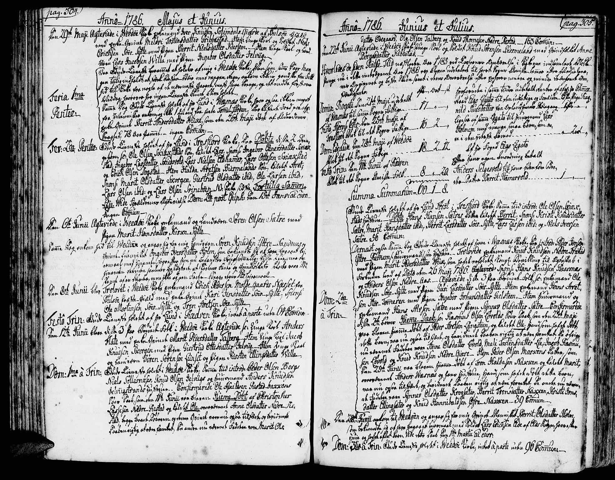SAT, Ministerialprotokoller, klokkerbøker og fødselsregistre - Møre og Romsdal, 547/L0600: Parish register (official) no. 547A02, 1765-1799, p. 304-305