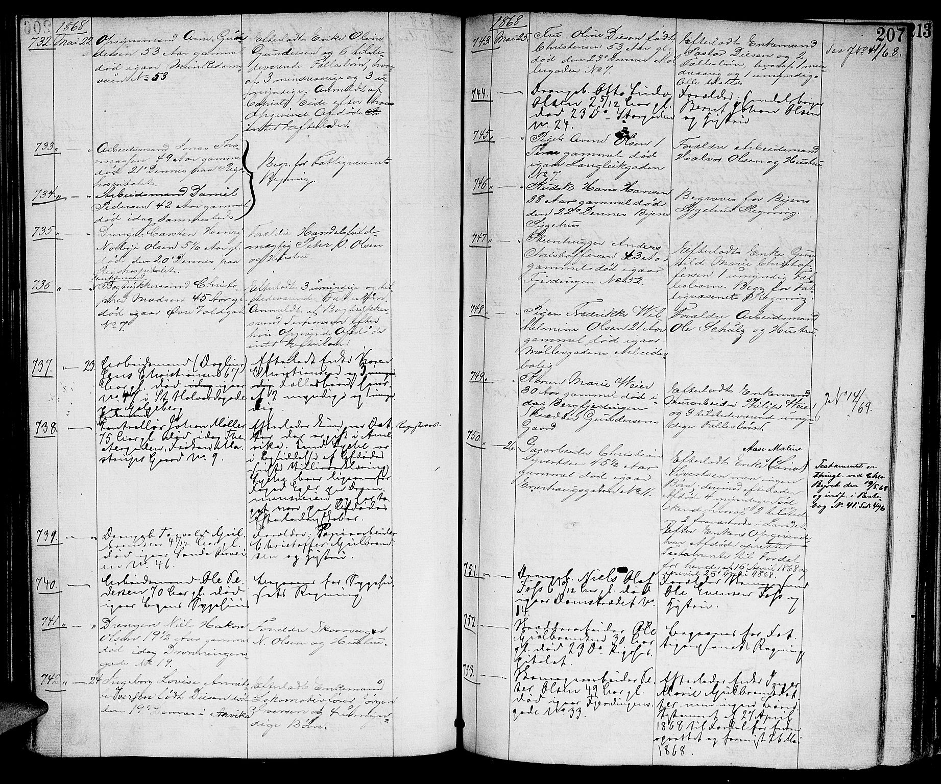 SAO, Oslo skifterett, G/Ga/Gaa/L0007: Dødsfallsprotokoll, 1864-1870, p. 206b-207a