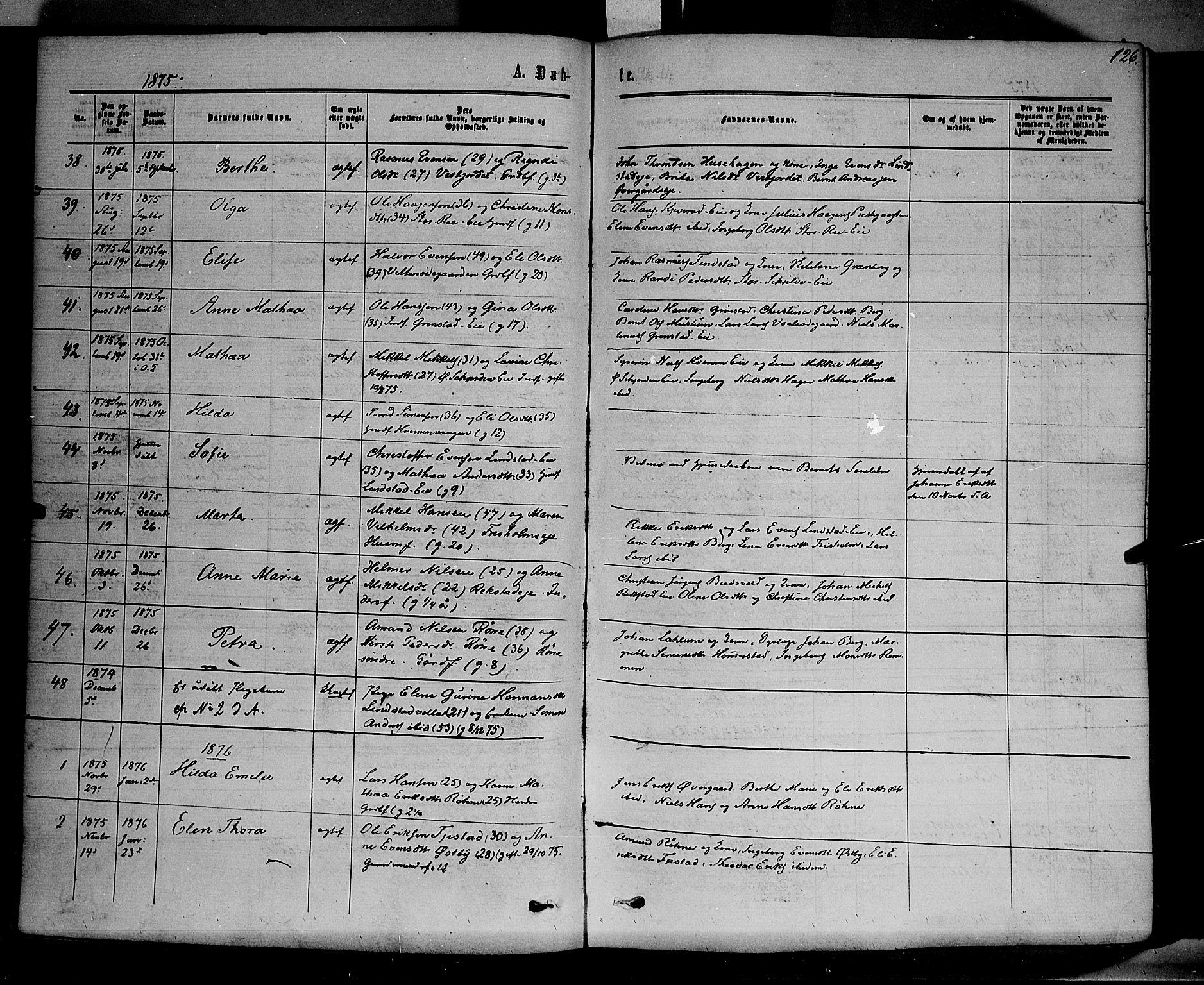 SAH, Stange prestekontor, K/L0013: Parish register (official) no. 13, 1862-1879, p. 126