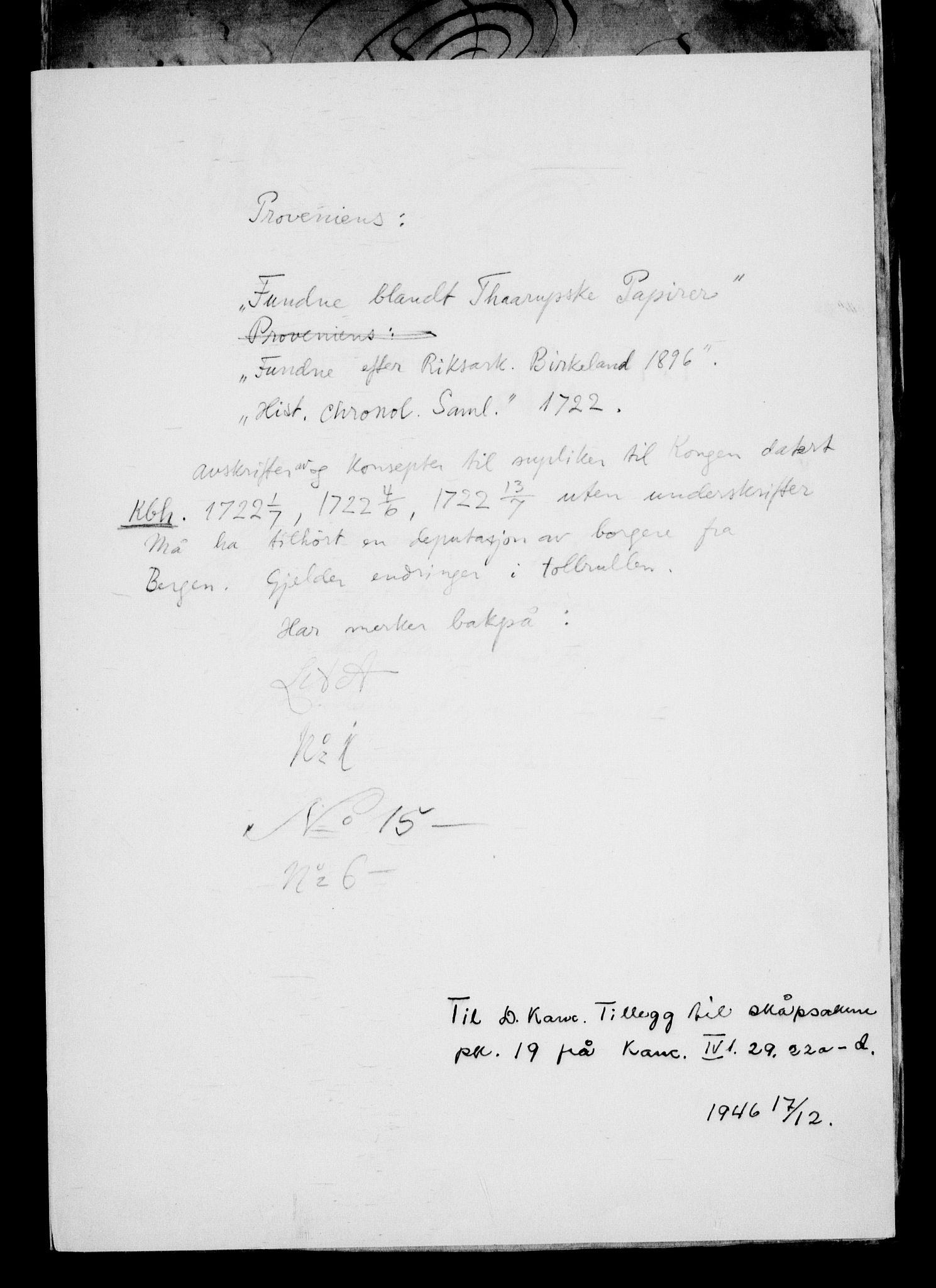 RA, Danske Kanselli, Skapsaker, G/L0019: Tillegg til skapsakene, 1616-1753, p. 2