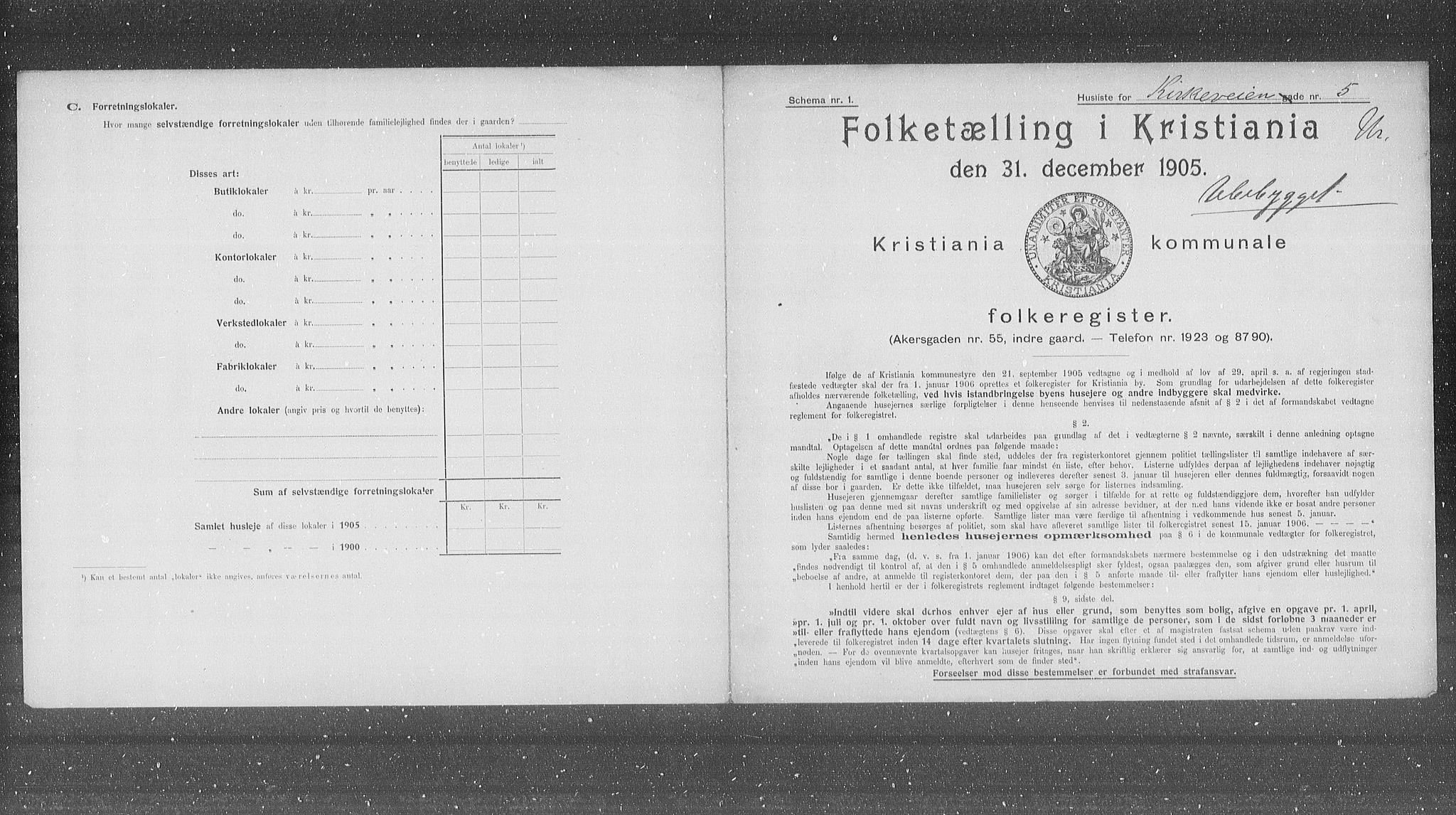 OBA, Municipal Census 1905 for Kristiania, 1905, p. 26615
