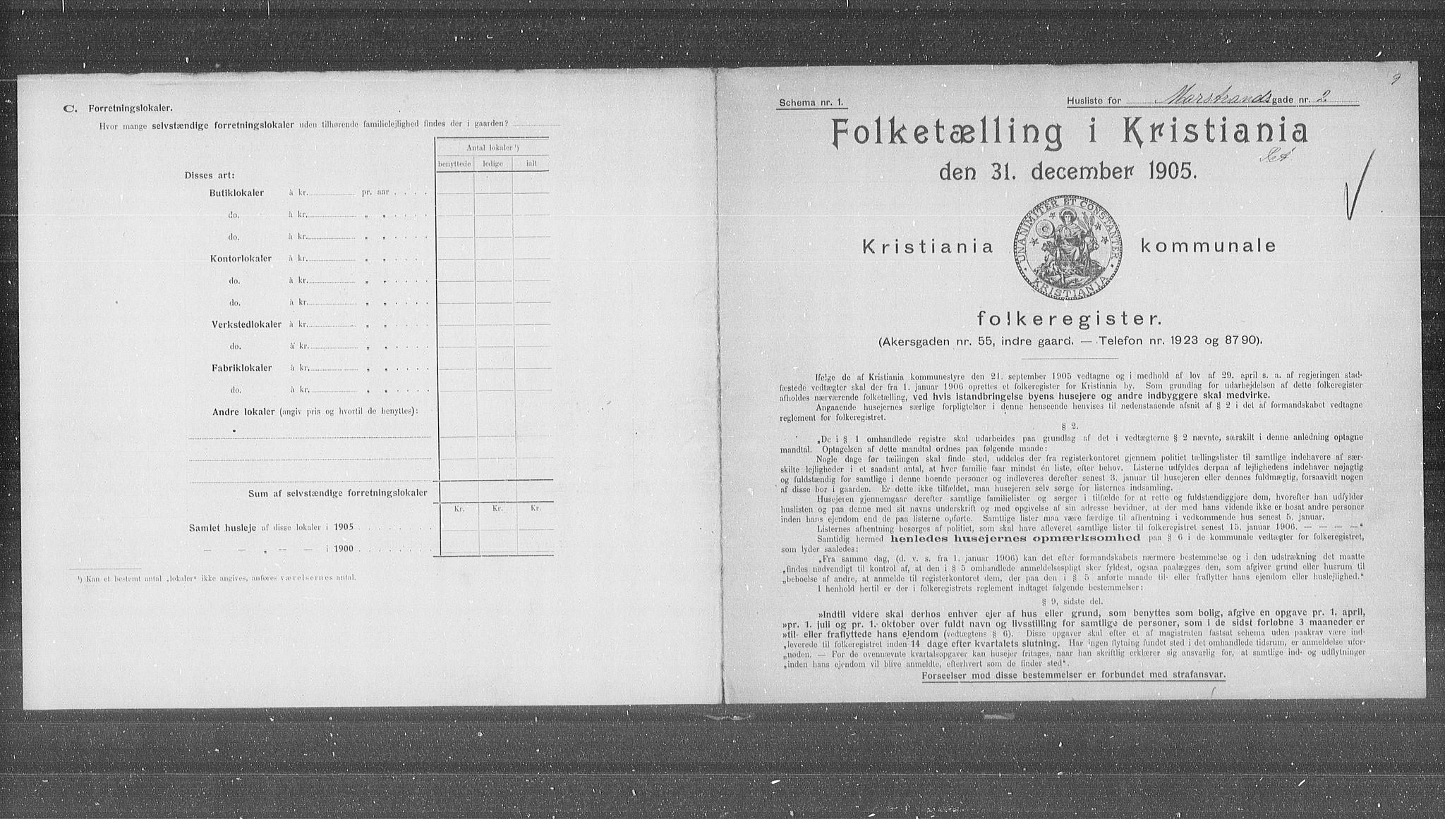 OBA, Municipal Census 1905 for Kristiania, 1905, p. 33969