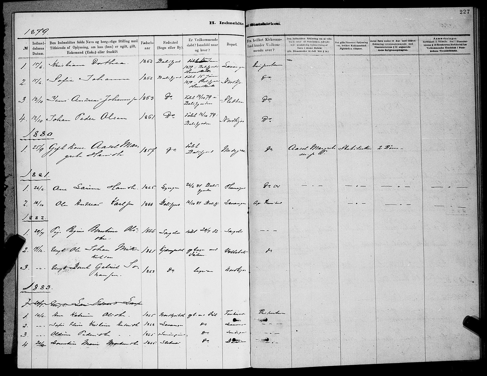 SATØ, Balsfjord sokneprestembete, Parish register (copy) no. 7, 1878-1889, p. 227