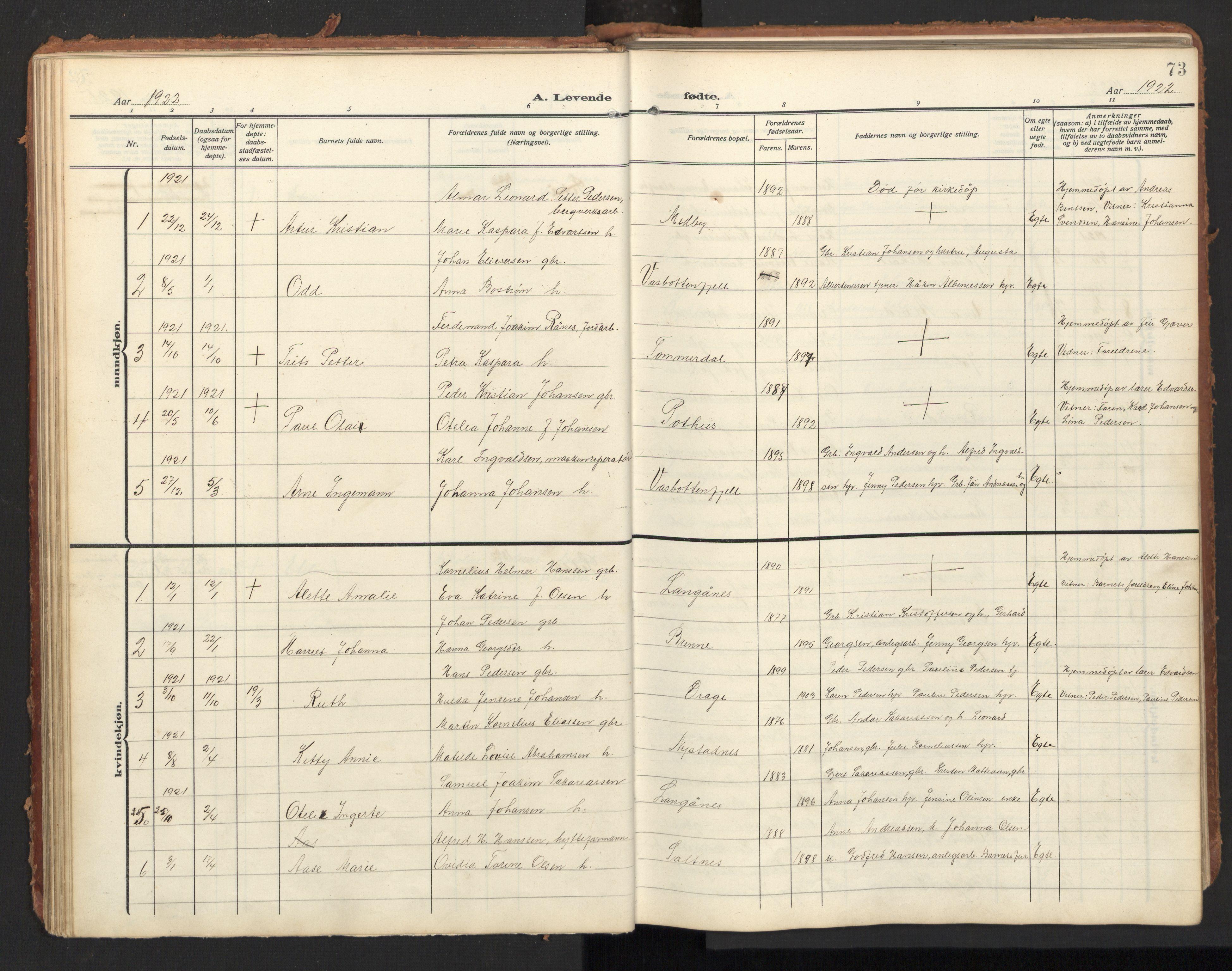 SAT, Ministerialprotokoller, klokkerbøker og fødselsregistre - Nordland, 847/L0683: Parish register (copy) no. 847C11, 1908-1929, p. 73