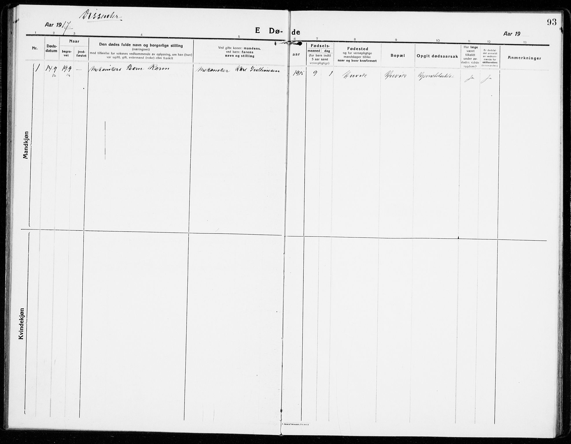 SAKO, Sandar kirkebøker, F/Fa/L0020: Parish register (official) no. 20, 1915-1919, p. 93