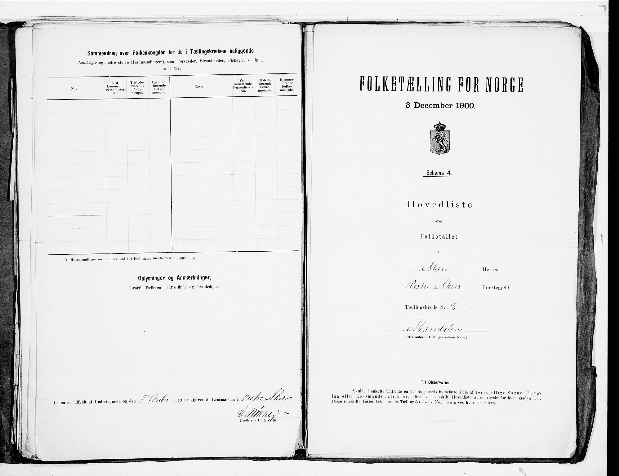 SAO, 1900 census for Aker, 1900, p. 58