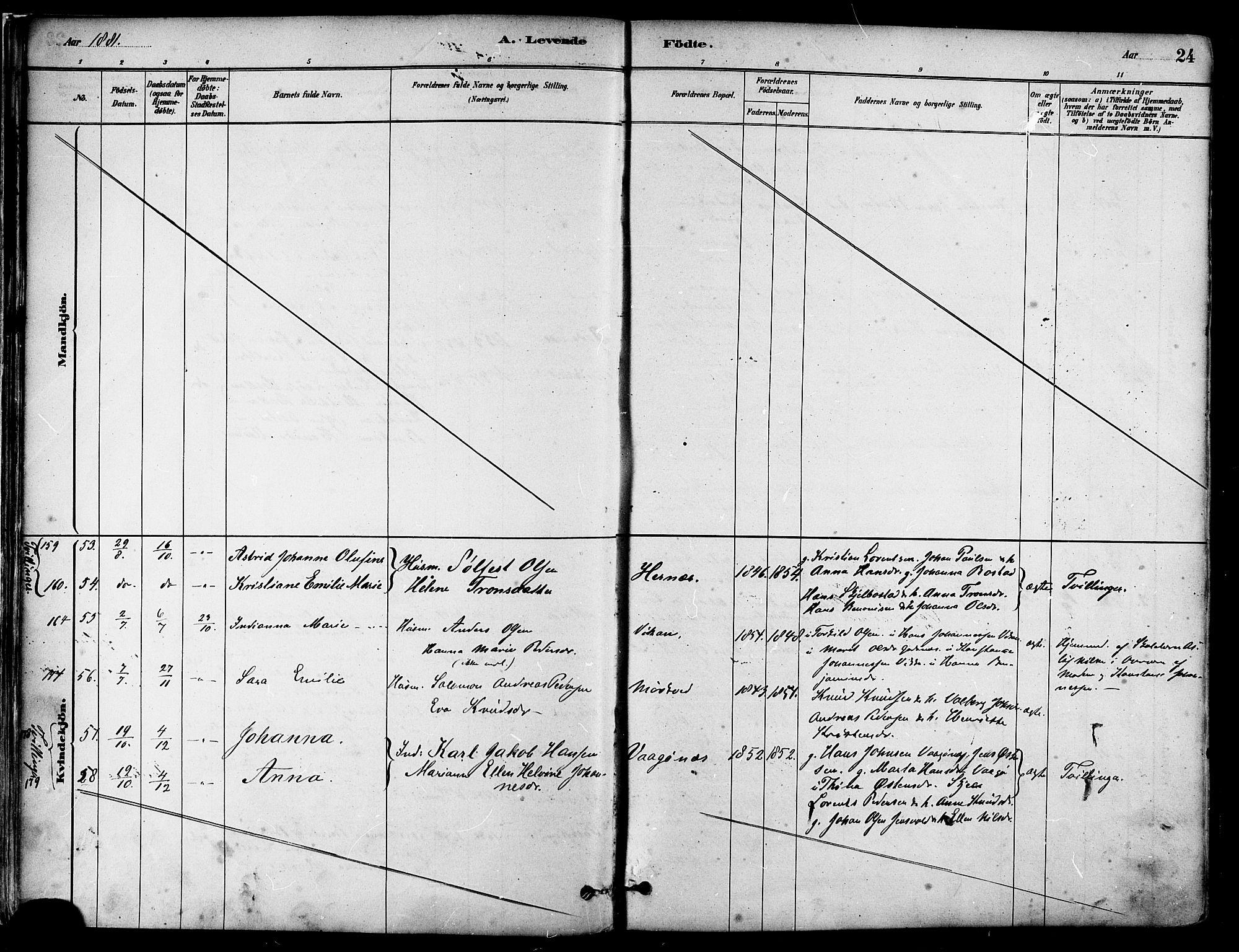 SAT, Ministerialprotokoller, klokkerbøker og fødselsregistre - Nordland, 802/L0054: Parish register (official) no. 802A01, 1879-1893, p. 24