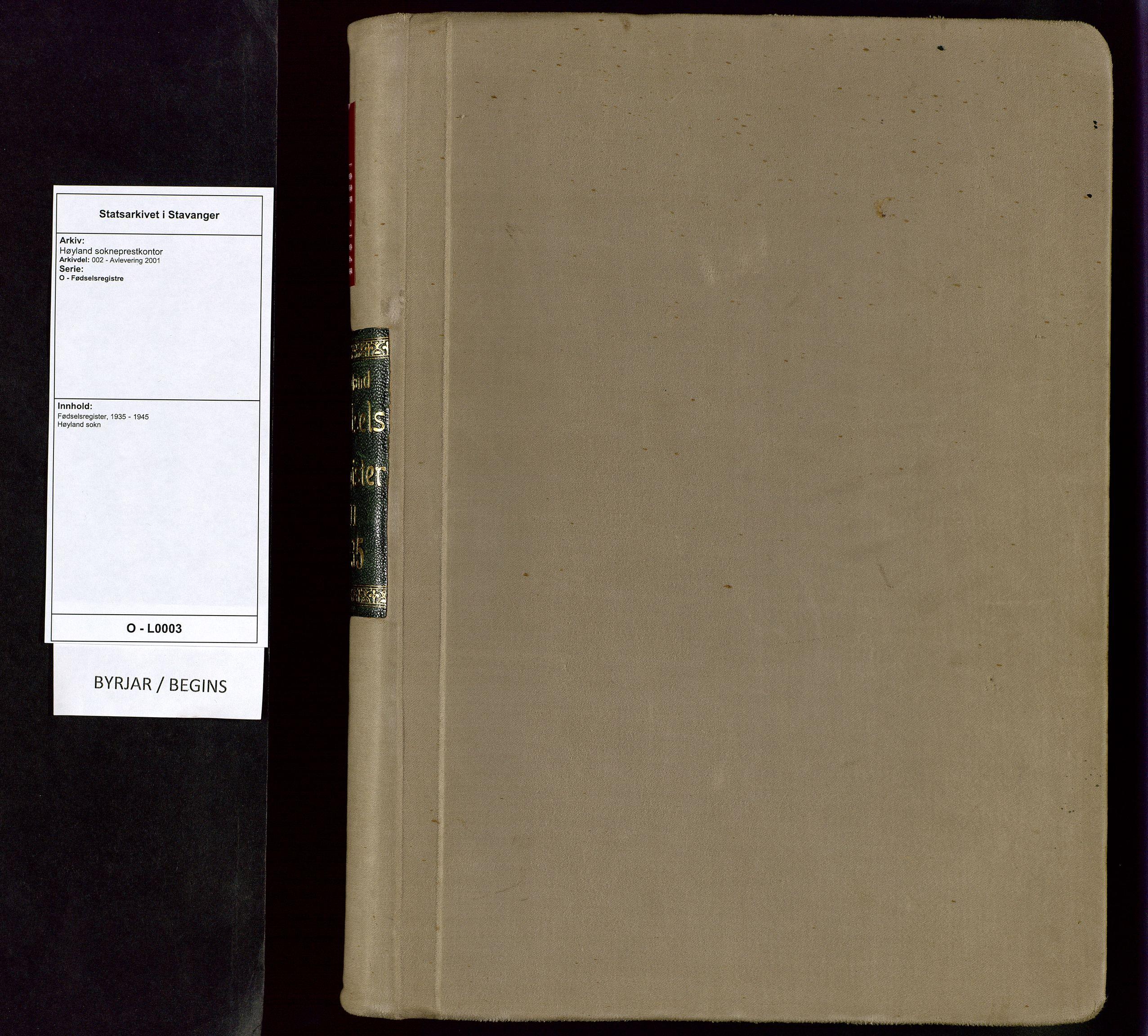 SAST, Høyland sokneprestkontor, O/L0003: Birth register no. 3, 1935-1945