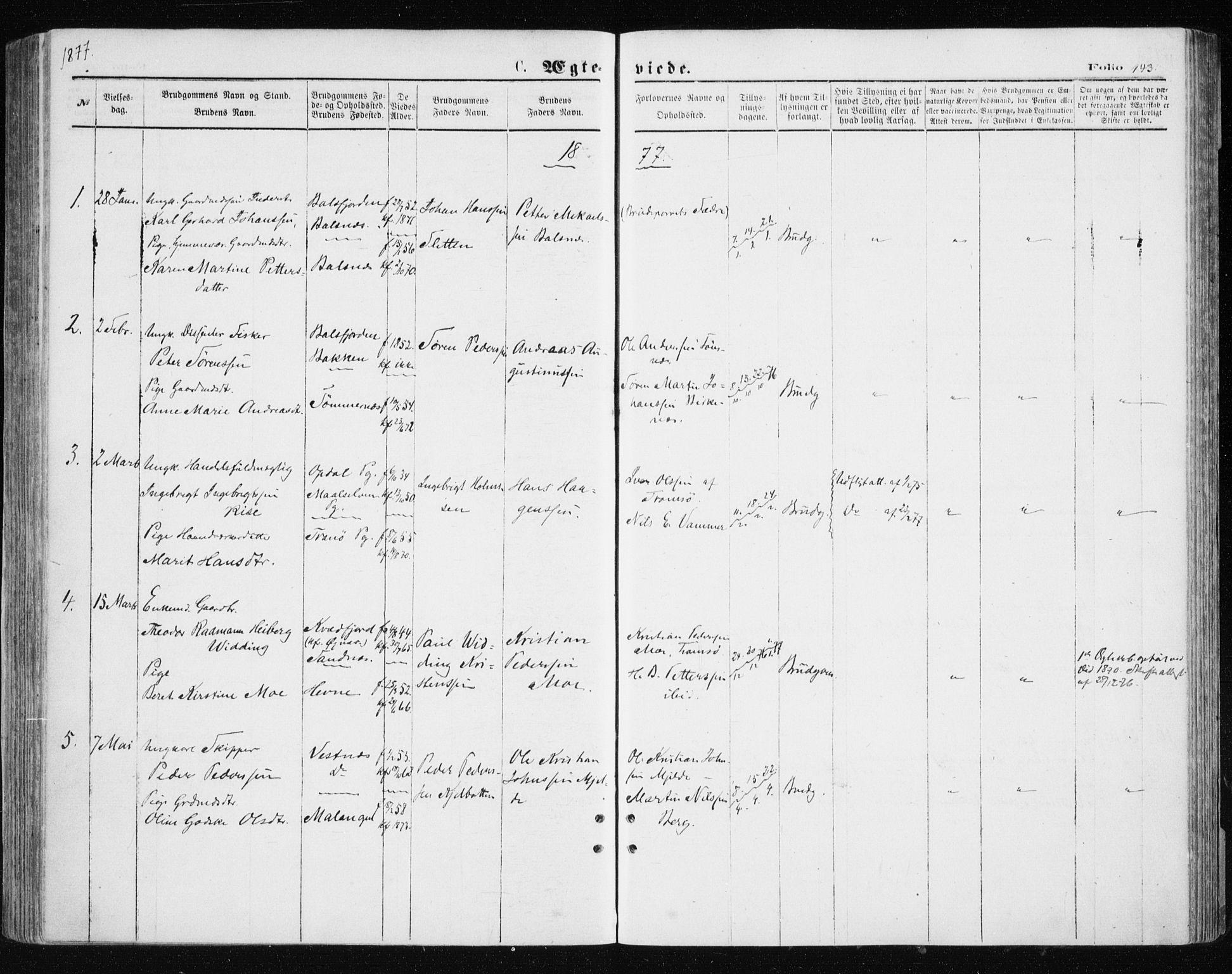 SATØ, Tromsøysund sokneprestkontor, G/Ga/L0003kirke: Parish register (official) no. 3, 1875-1880, p. 143