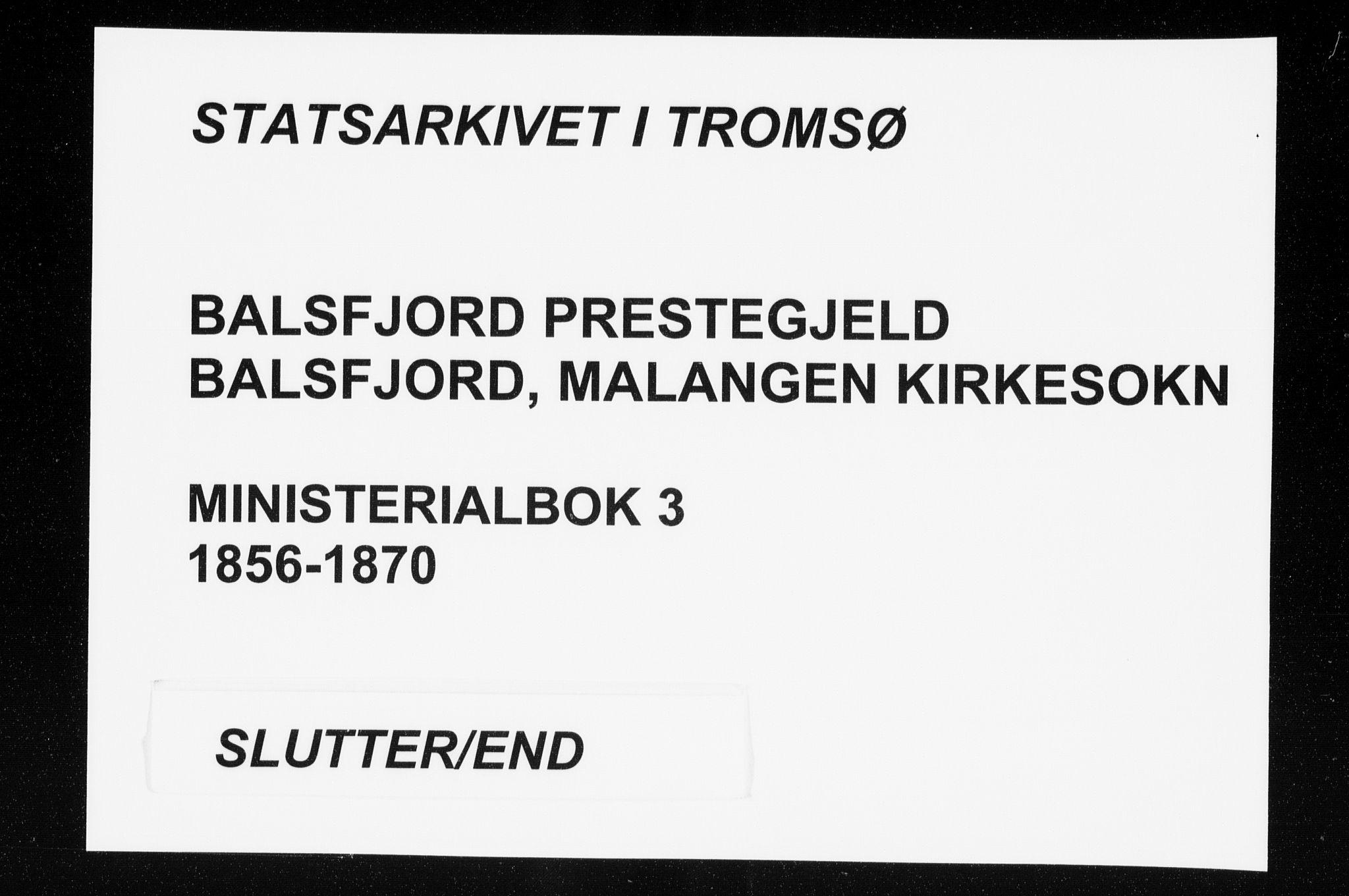 SATØ, Balsfjord sokneprestembete, Parish register (official) no. 3, 1856-1870