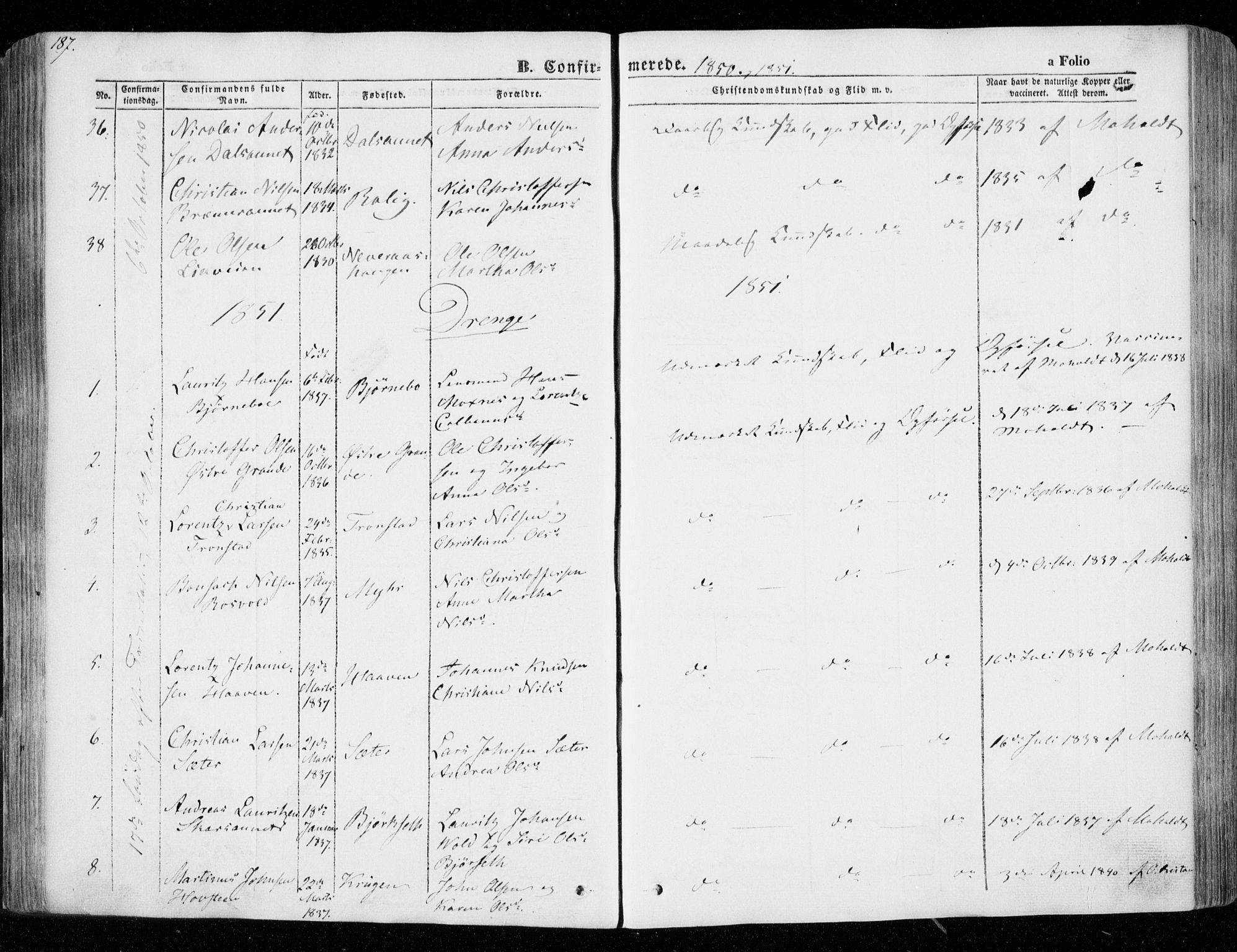 SAT, Ministerialprotokoller, klokkerbøker og fødselsregistre - Nord-Trøndelag, 701/L0007: Parish register (official) no. 701A07 /1, 1842-1854, p. 187