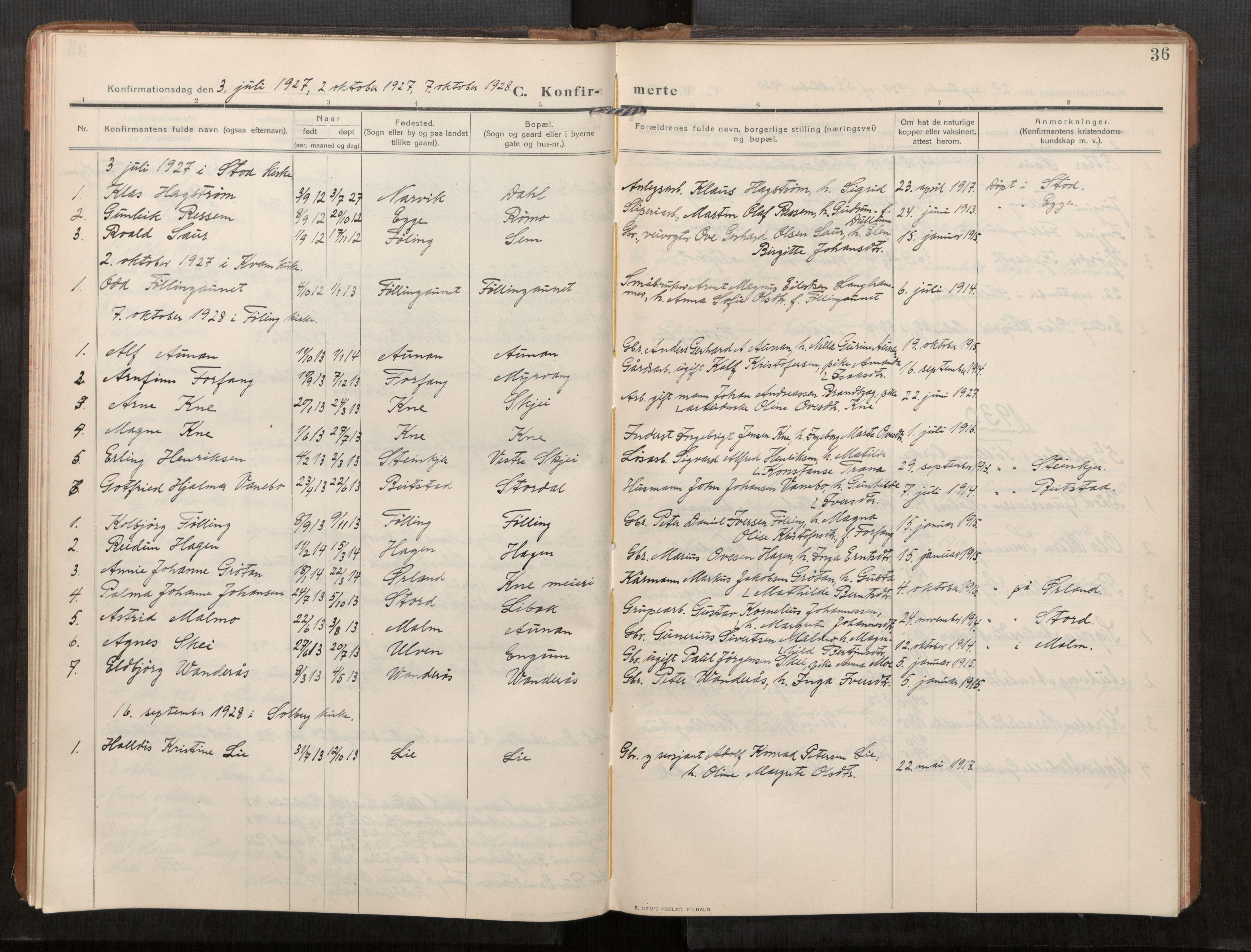 SAT, Stod sokneprestkontor, I/I1/I1a/L0003: Parish register (official) no. 3, 1909-1934, p. 36