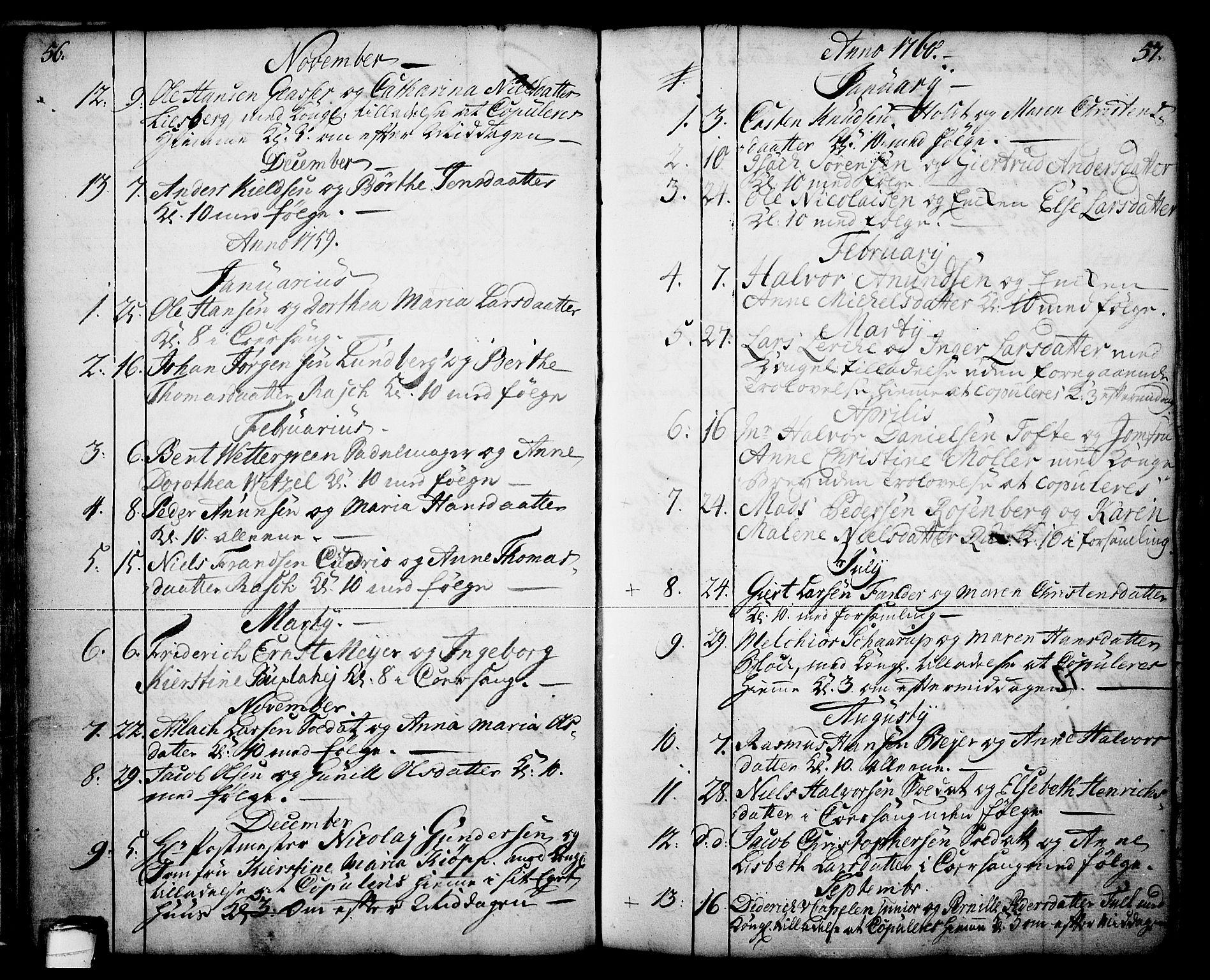 SAKO, Skien kirkebøker, F/Fa/L0003: Parish register (official) no. 3, 1755-1791, p. 56-57