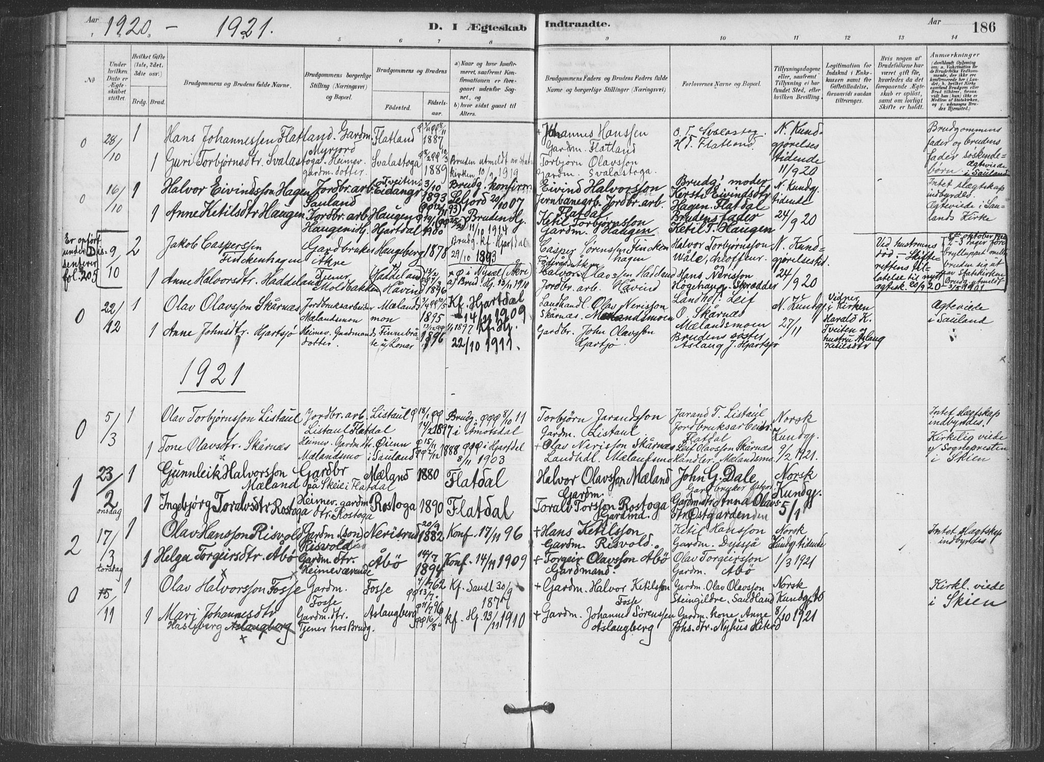 SAKO, Hjartdal kirkebøker, F/Fa/L0010: Parish register (official) no. I 10, 1880-1929, p. 186