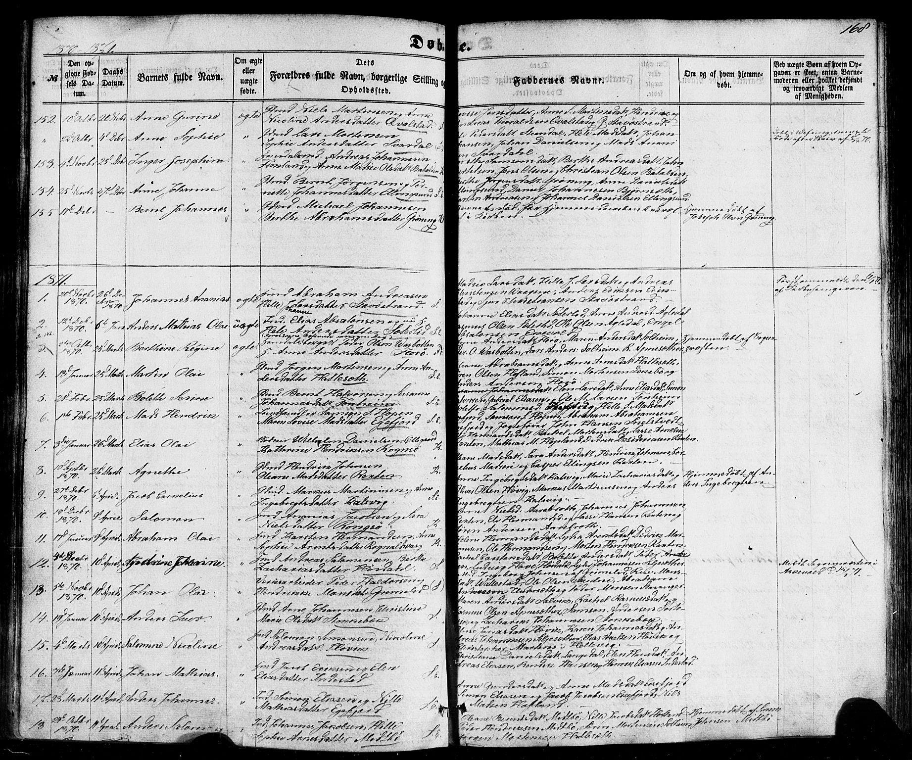 SAB, Kinn sokneprestembete, H/Haa/Haaa/L0006: Parish register (official) no. A 6, 1857-1885, p. 168