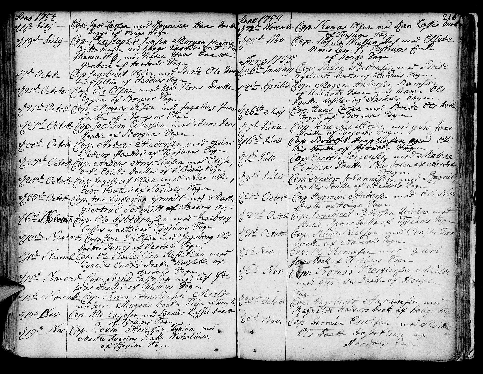 SAB, Lærdal sokneprestembete, Parish register (official) no. A 2, 1752-1782, p. 216
