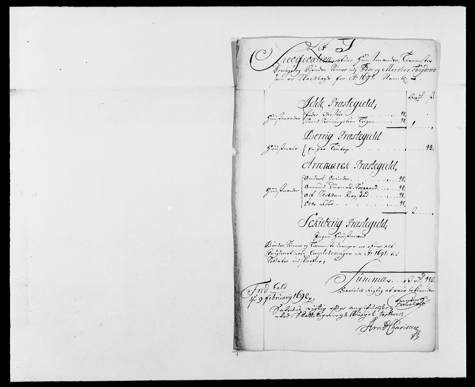 RA, Rentekammeret inntil 1814, Reviderte regnskaper, Fogderegnskap, R01/L0010: Fogderegnskap Idd og Marker, 1690-1691, p. 364