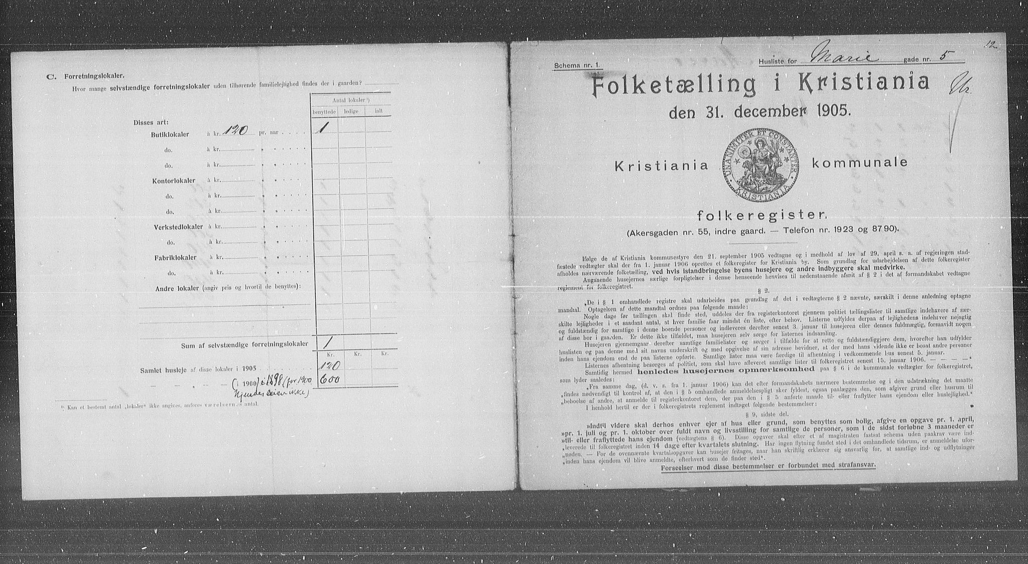 OBA, Municipal Census 1905 for Kristiania, 1905, p. 33000