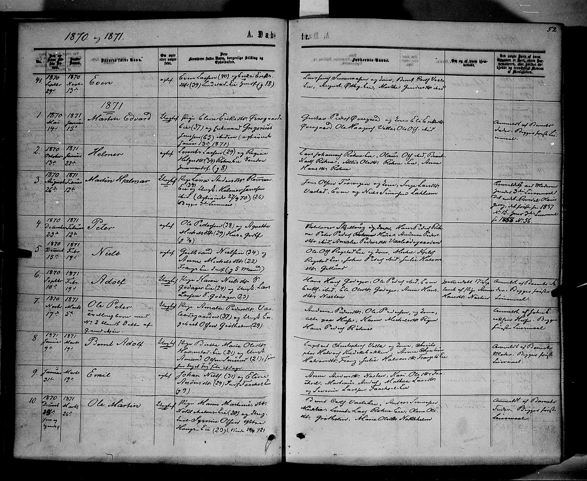 SAH, Stange prestekontor, K/L0013: Parish register (official) no. 13, 1862-1879, p. 52