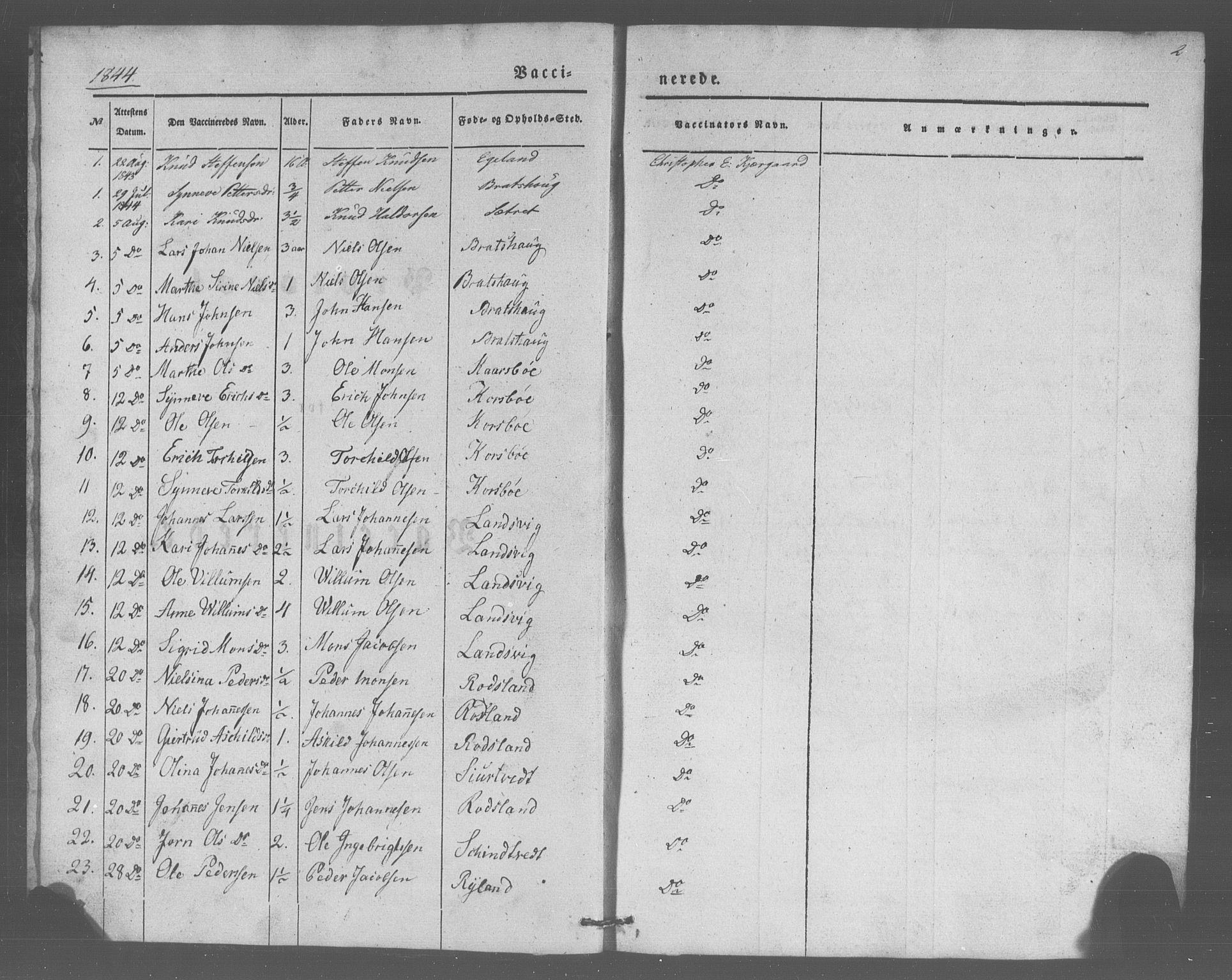 SAB, Manger sokneprestembete, H/Haa: Parish register (official) no. A 10, 1844-1859, p. 2