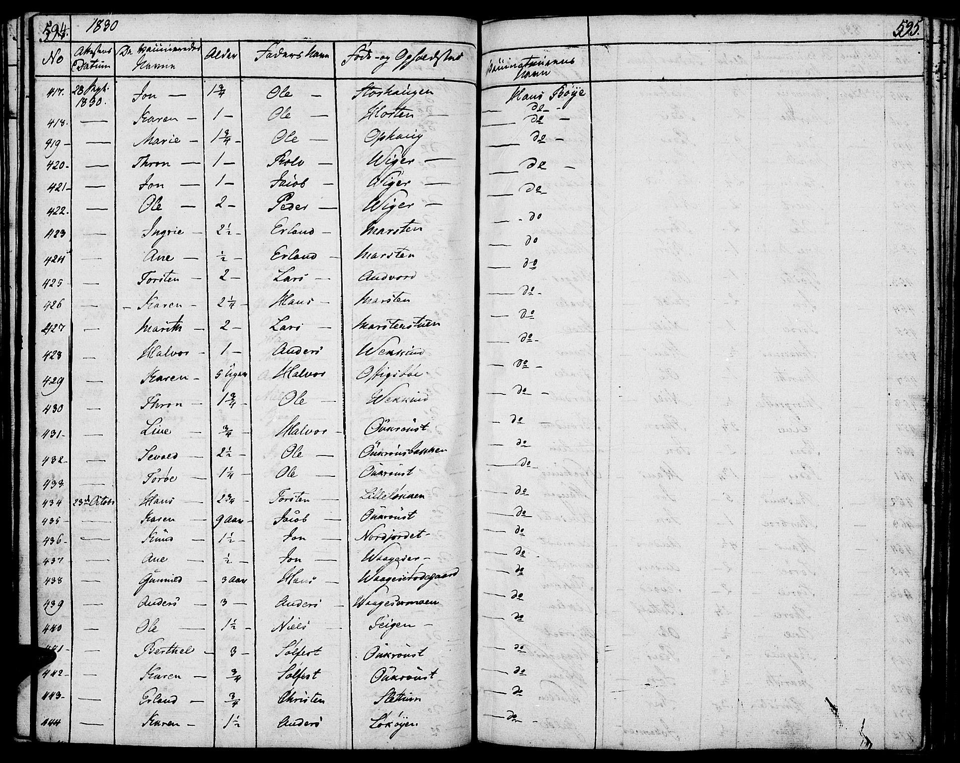 SAH, Lom prestekontor, K/L0005: Parish register (official) no. 5, 1825-1837, p. 594-595