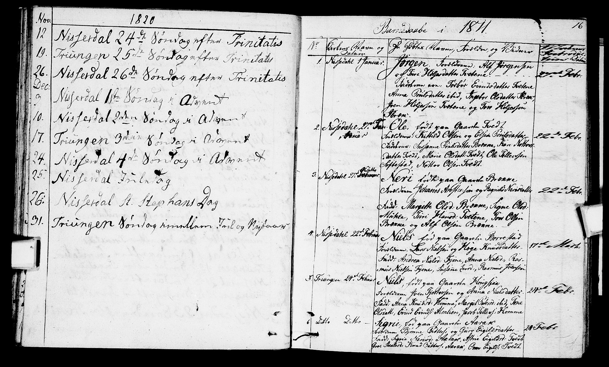 SAKO, Nissedal kirkebøker, F/Fa/L0001: Parish register (official) no. I 1, 1811-1814, p. 16