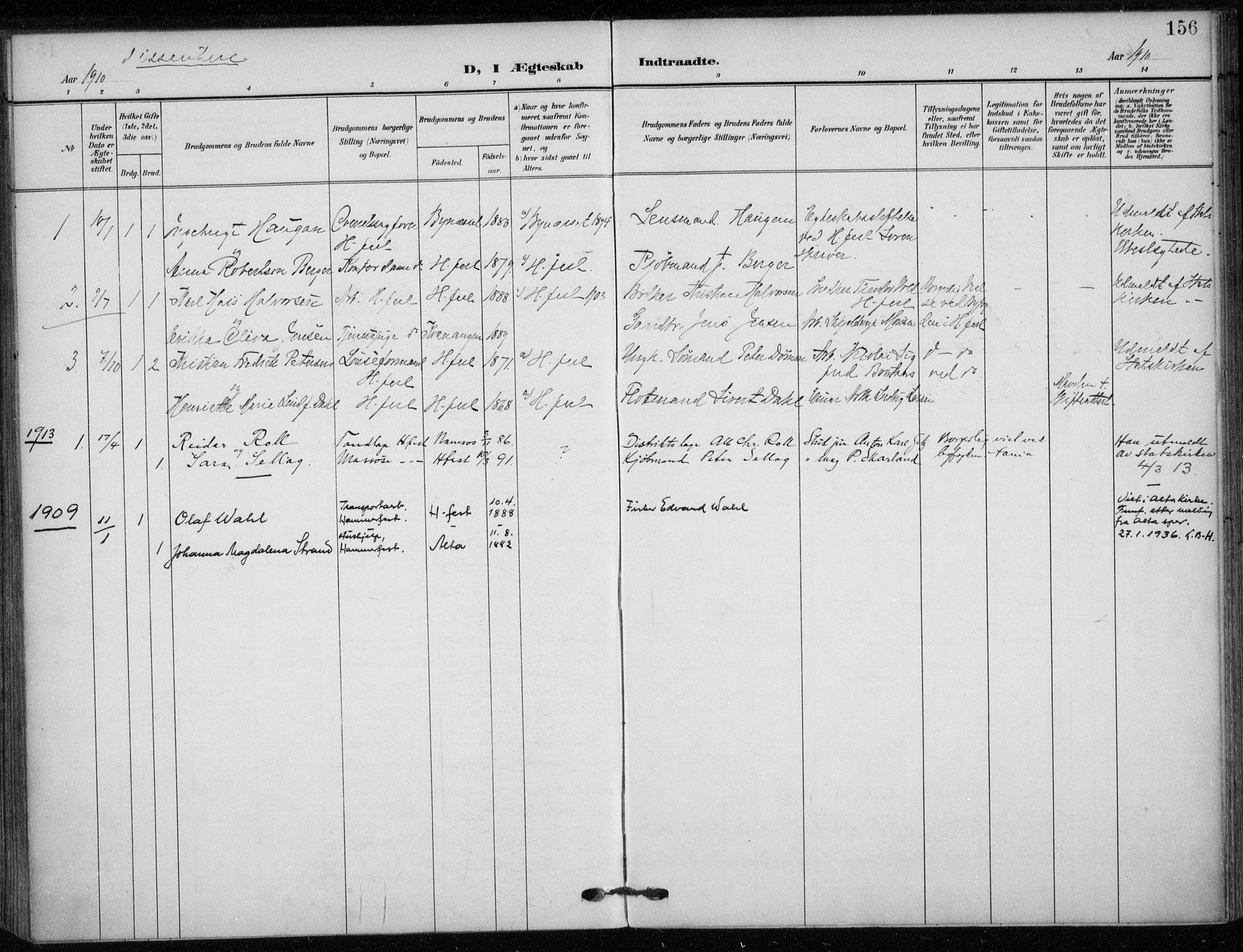 SATØ, Hammerfest sokneprestkontor, H/Ha/L0014.kirke: Parish register (official) no. 14, 1906-1916, p. 156