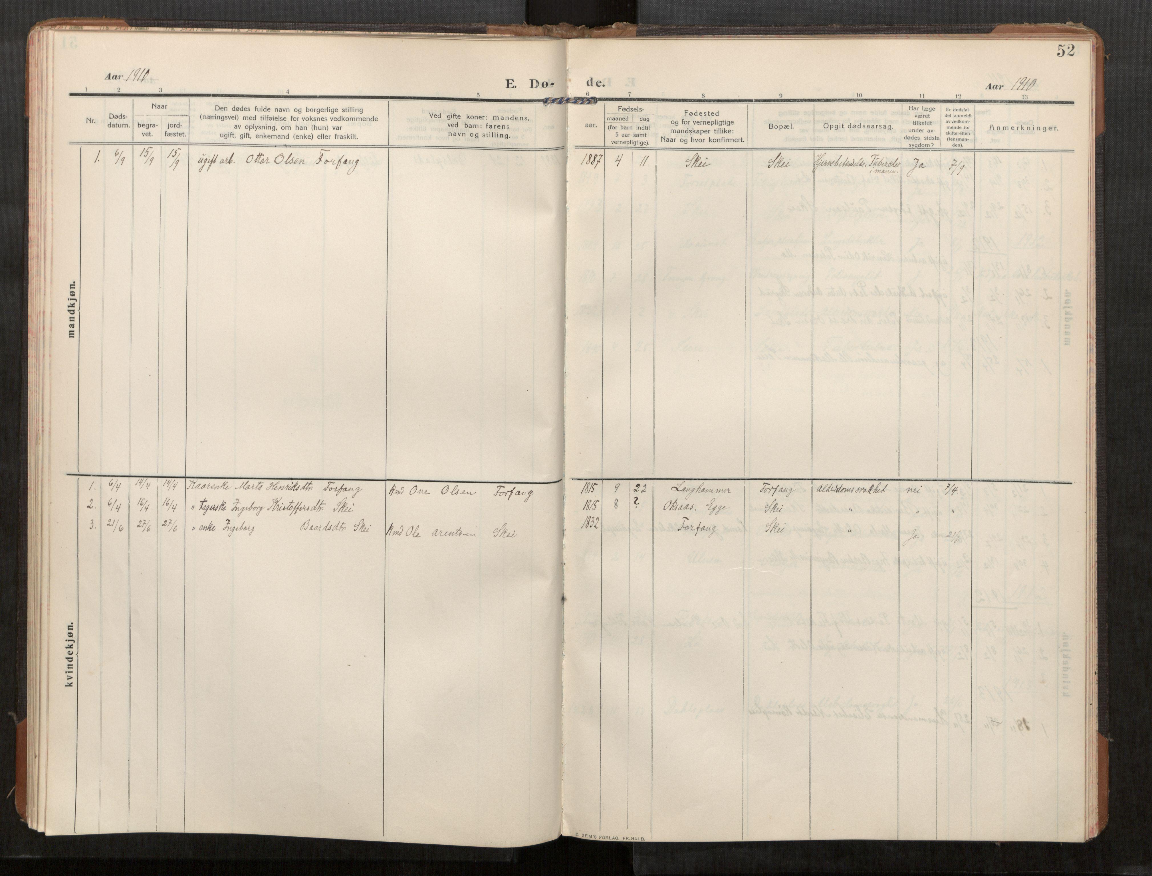 SAT, Stod sokneprestkontor, I/I1/I1a/L0003: Parish register (official) no. 3, 1909-1934, p. 52