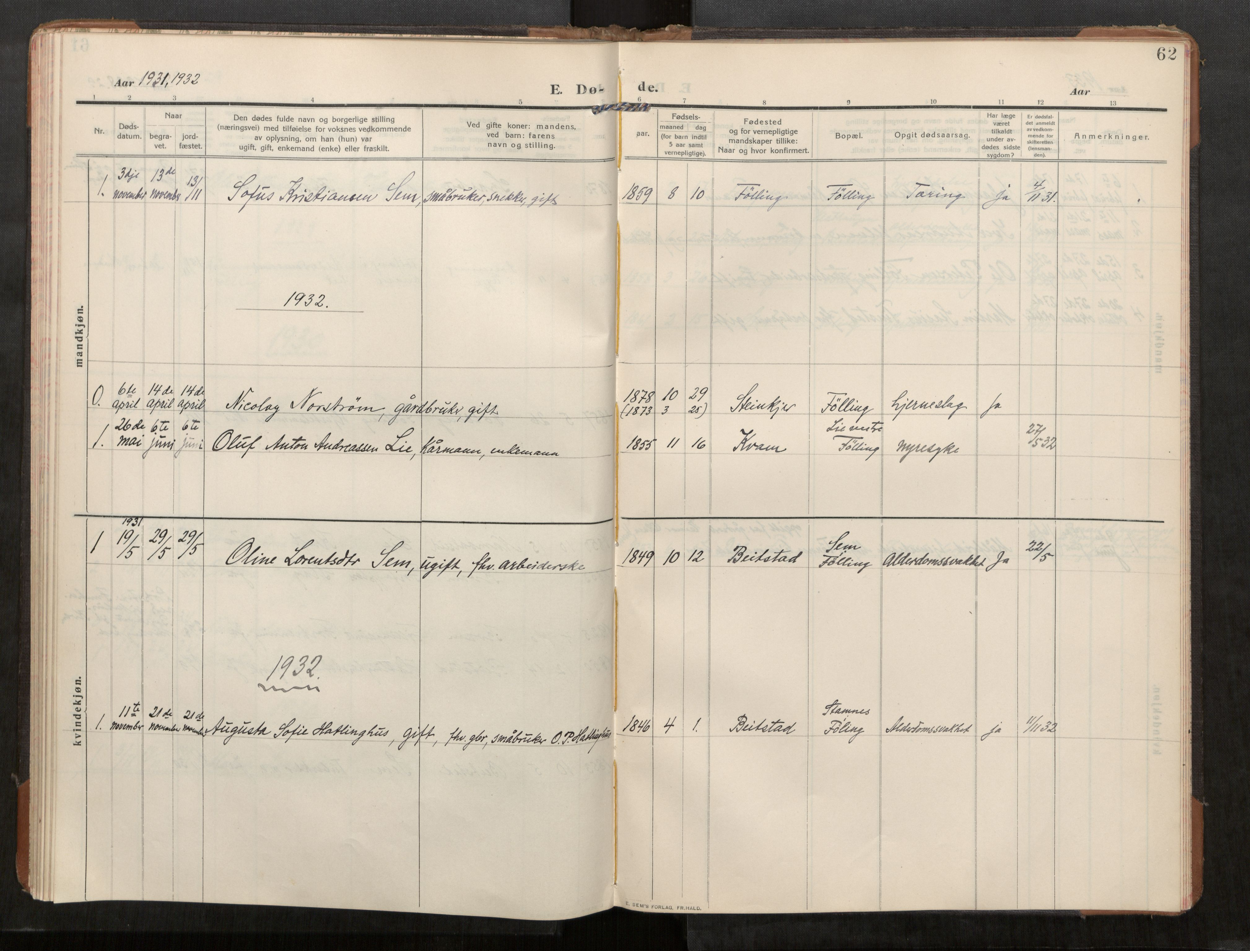 SAT, Stod sokneprestkontor, I/I1/I1a/L0003: Parish register (official) no. 3, 1909-1934, p. 62