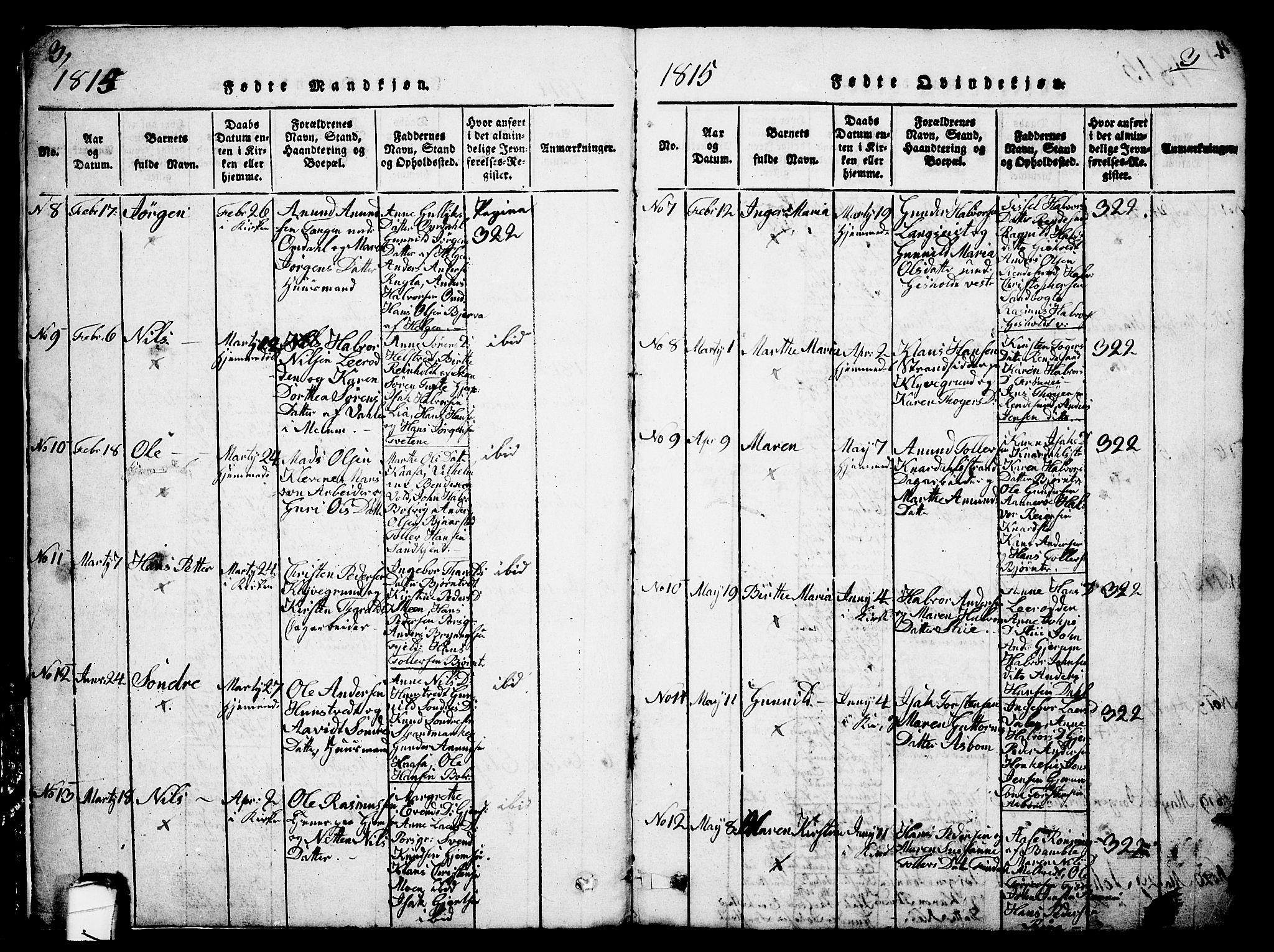 SAKO, Solum kirkebøker, G/Ga/L0001: Parish register (copy) no. I 1, 1814-1833, p. 3