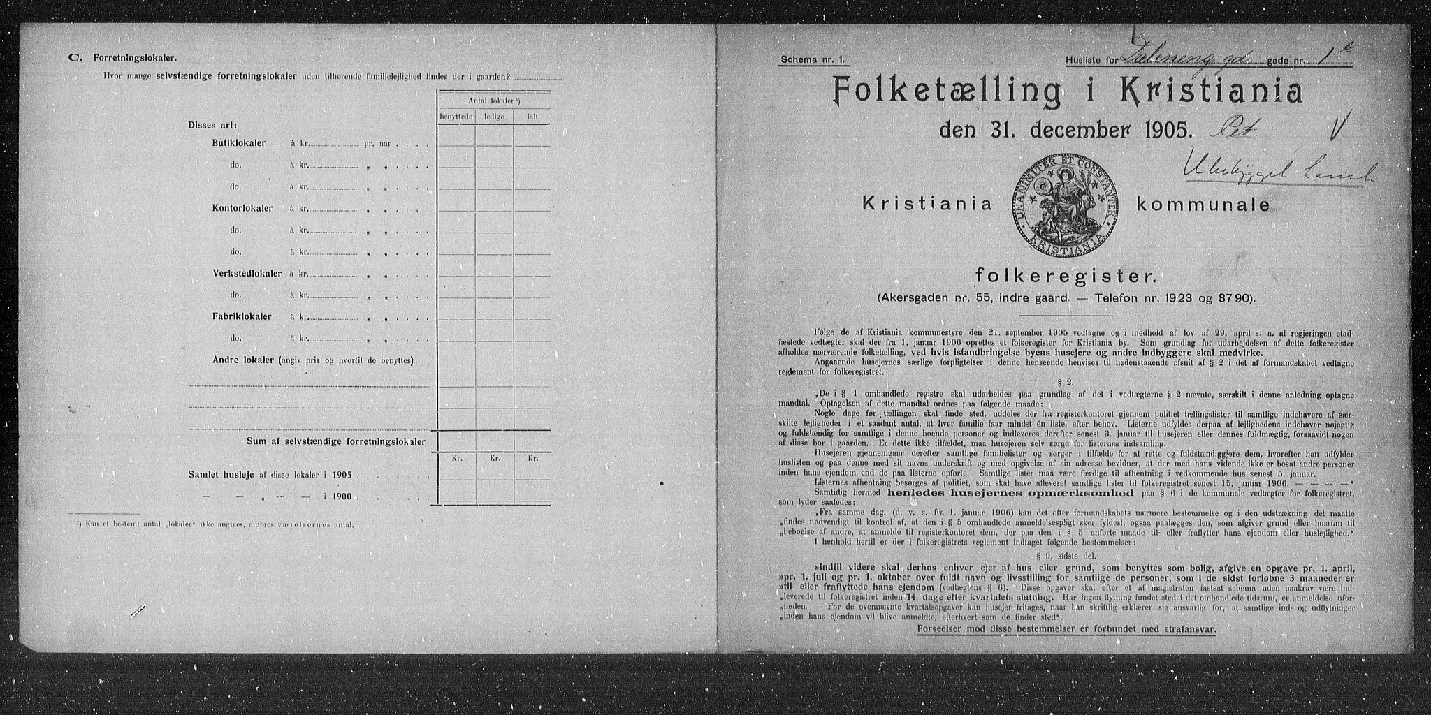 OBA, Municipal Census 1905 for Kristiania, 1905, p. 9167