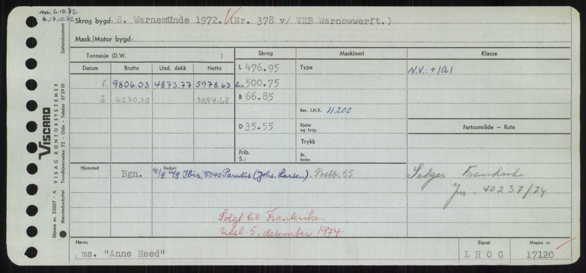 RA, Sjøfartsdirektoratet med forløpere, Skipsmålingen, H/Hd/L0001: Fartøy, A-Anv, p. 749