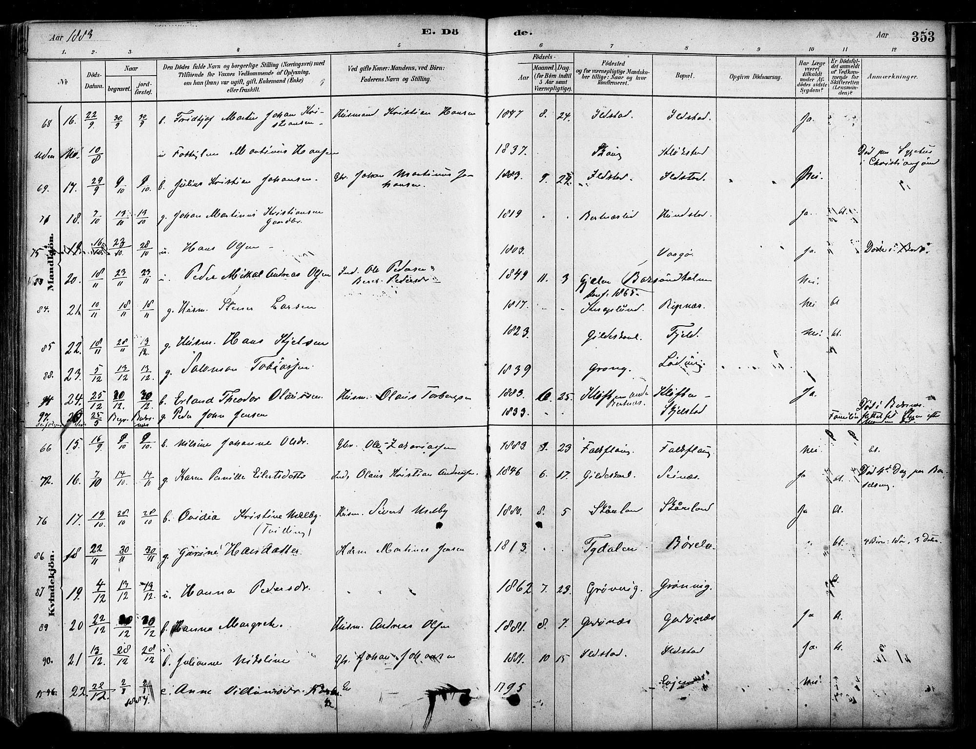 SAT, Ministerialprotokoller, klokkerbøker og fødselsregistre - Nordland, 802/L0054: Parish register (official) no. 802A01, 1879-1893, p. 353